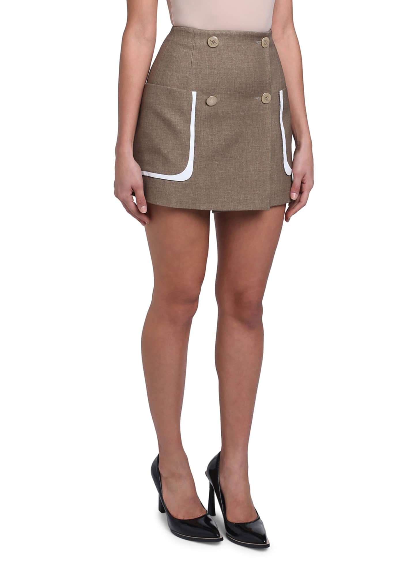 Image 4 of 4: Oversized-Pocket Mini Skirt