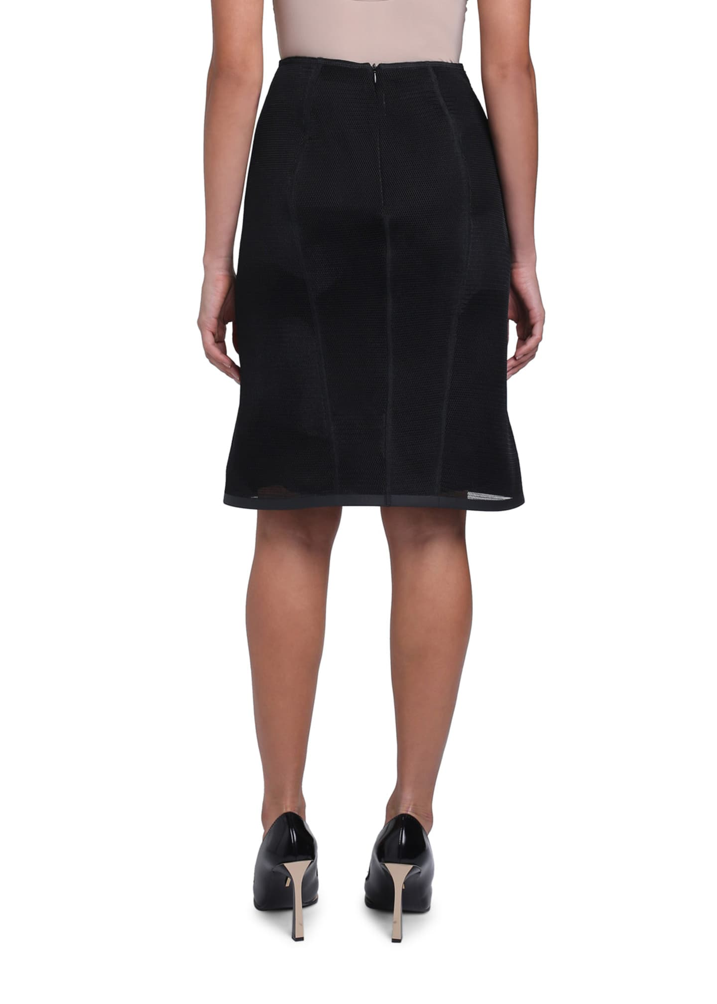 Image 3 of 4: Micro-Mesh Lined Pencil Skirt