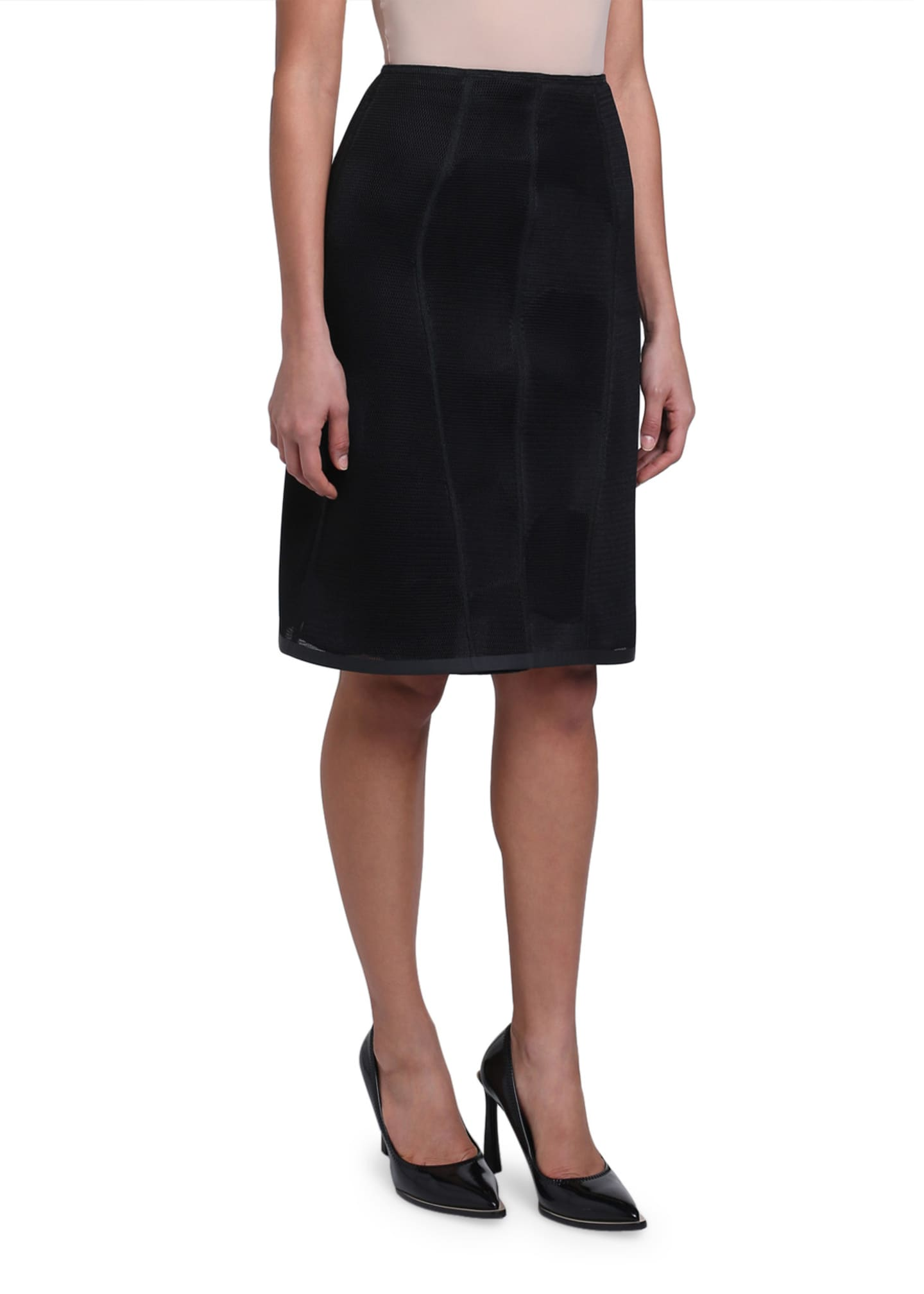 Image 4 of 4: Micro-Mesh Lined Pencil Skirt