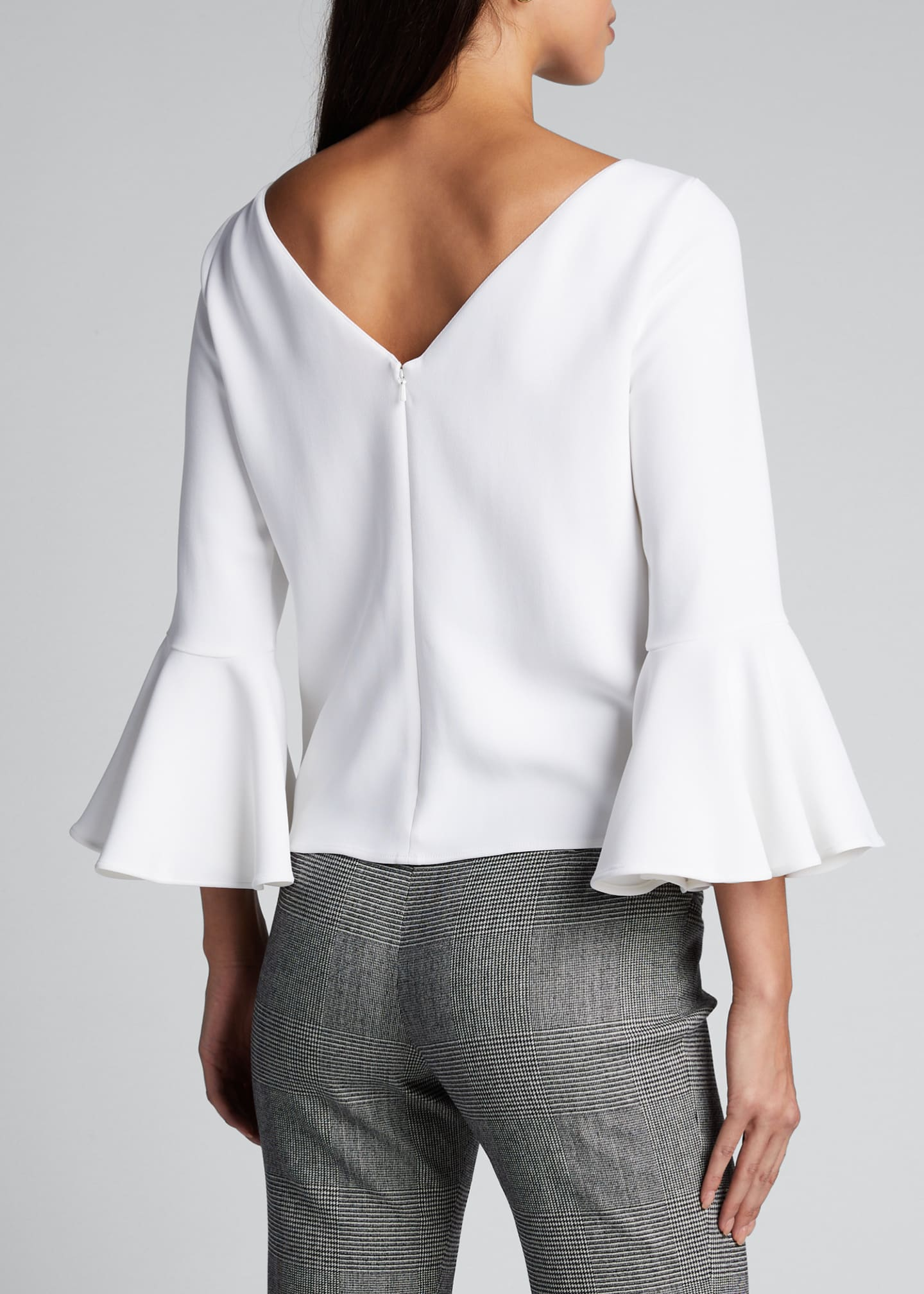 Image 2 of 5: Crepe 3/4-Bell-Sleeve Blouse
