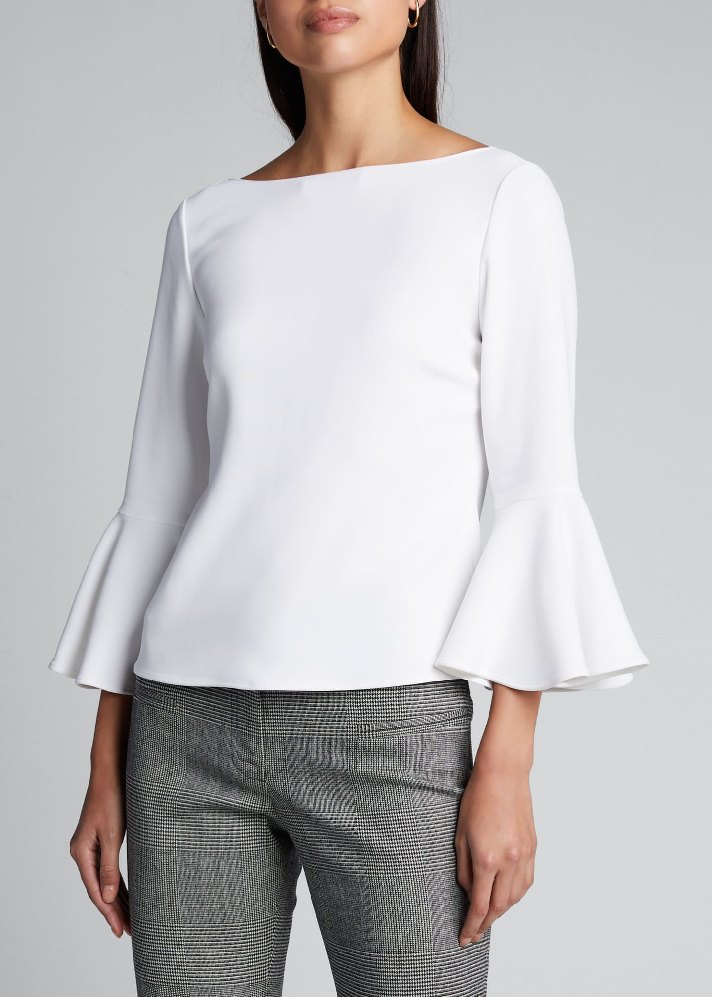Image 3 of 5: Crepe 3/4-Bell-Sleeve Blouse