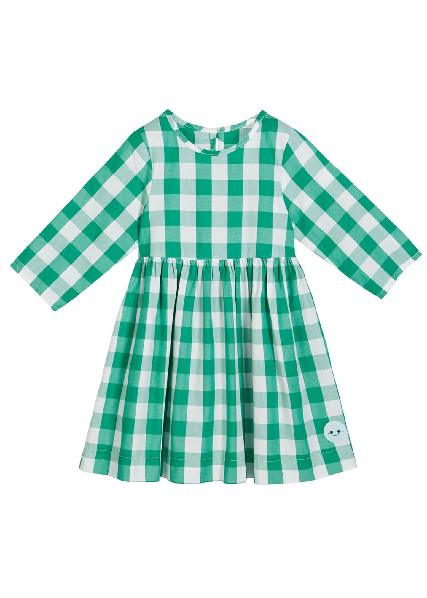 Smiling Button Buffalo Check 3/4-Sleeve Dress, Size 18m-10