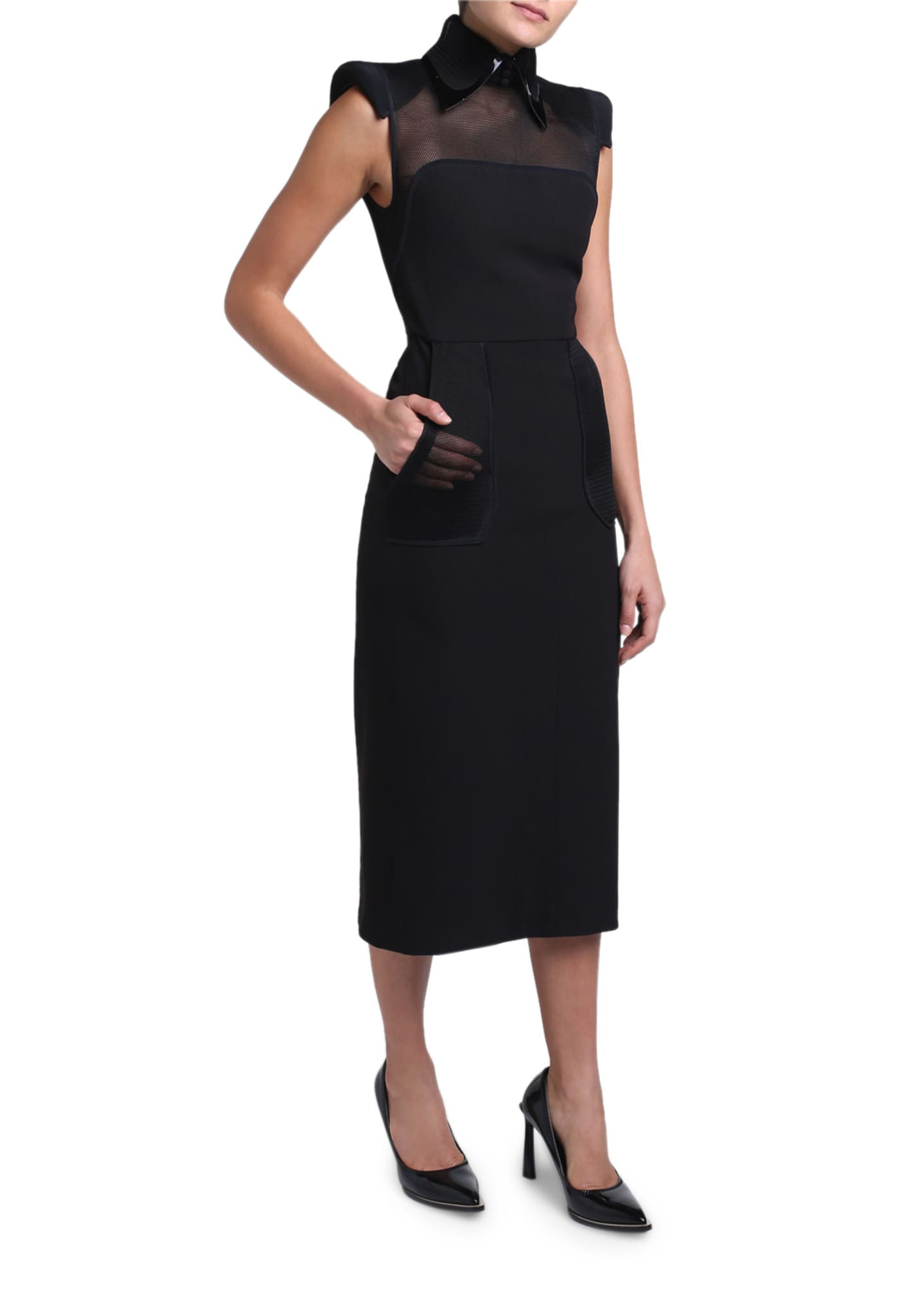 Image 2 of 4: Wool Crepe Leather-Collar Strong-Shoulder Dress