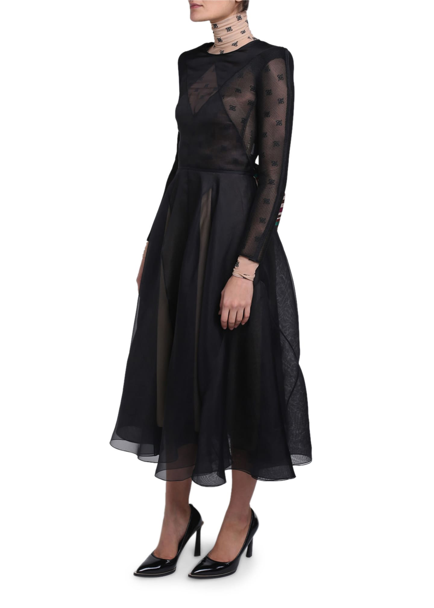 Image 2 of 4: Chiffon Long-Sleeve Dress with Logo-Print Turtleneck Lining