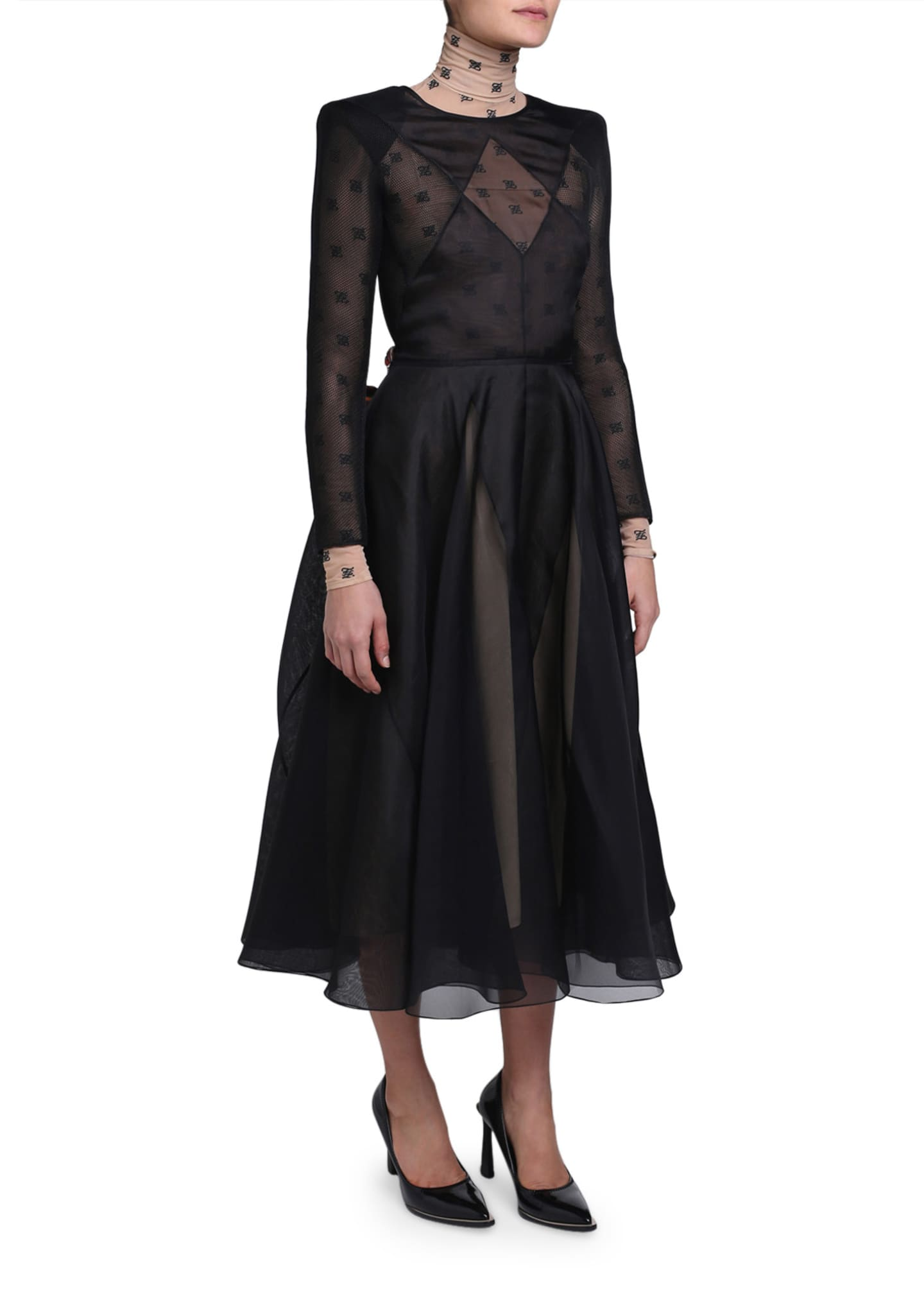 Image 4 of 4: Chiffon Long-Sleeve Dress with Logo-Print Turtleneck Lining