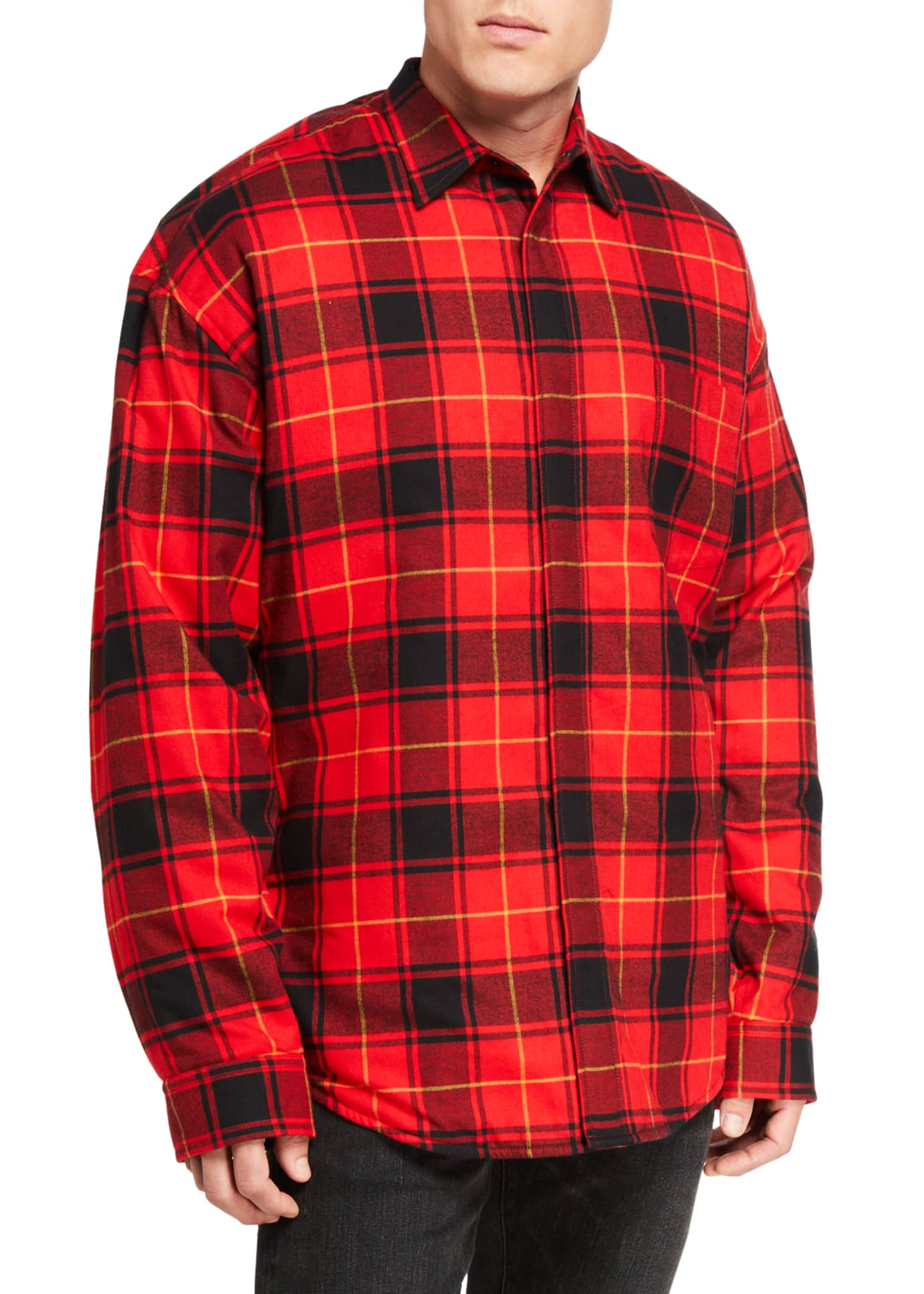 Image 2 of 3: Men's Pinched Plaid Overshirt