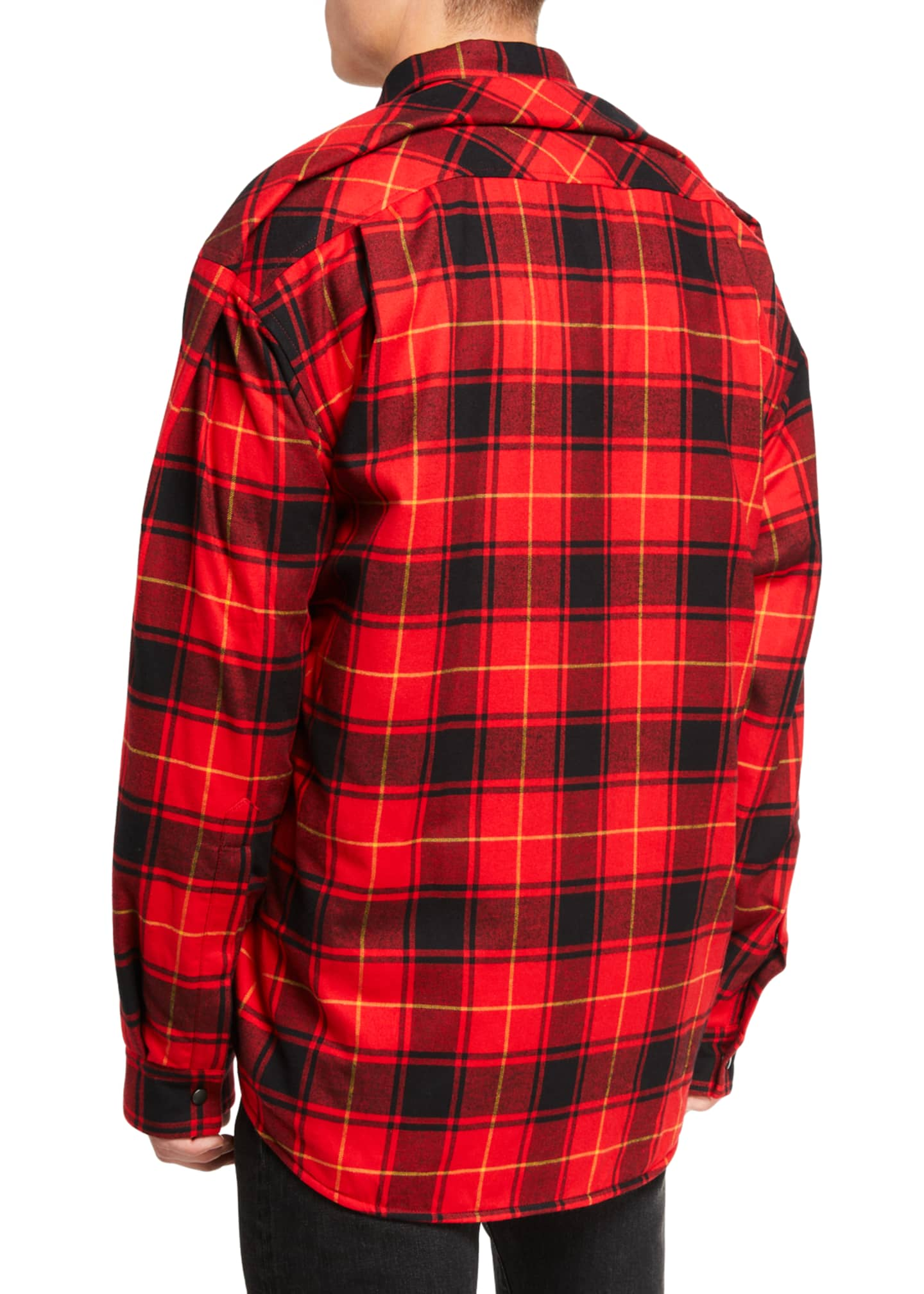 Image 3 of 3: Men's Pinched Plaid Overshirt