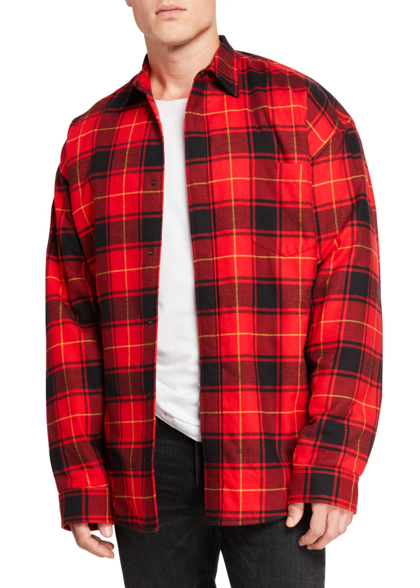 Balenciaga Men's Pinched Plaid Overshirt