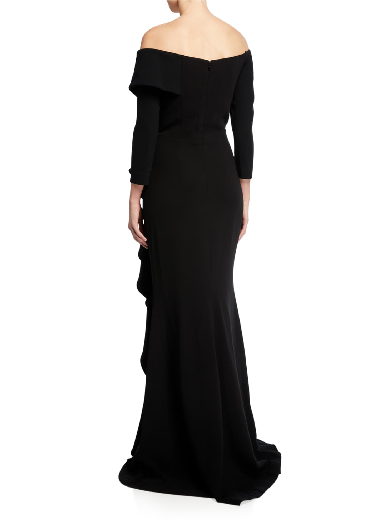 Image 2 of 2: Off-the-Shoulder 3/4-Sleeve Side Draped Crepe Gown