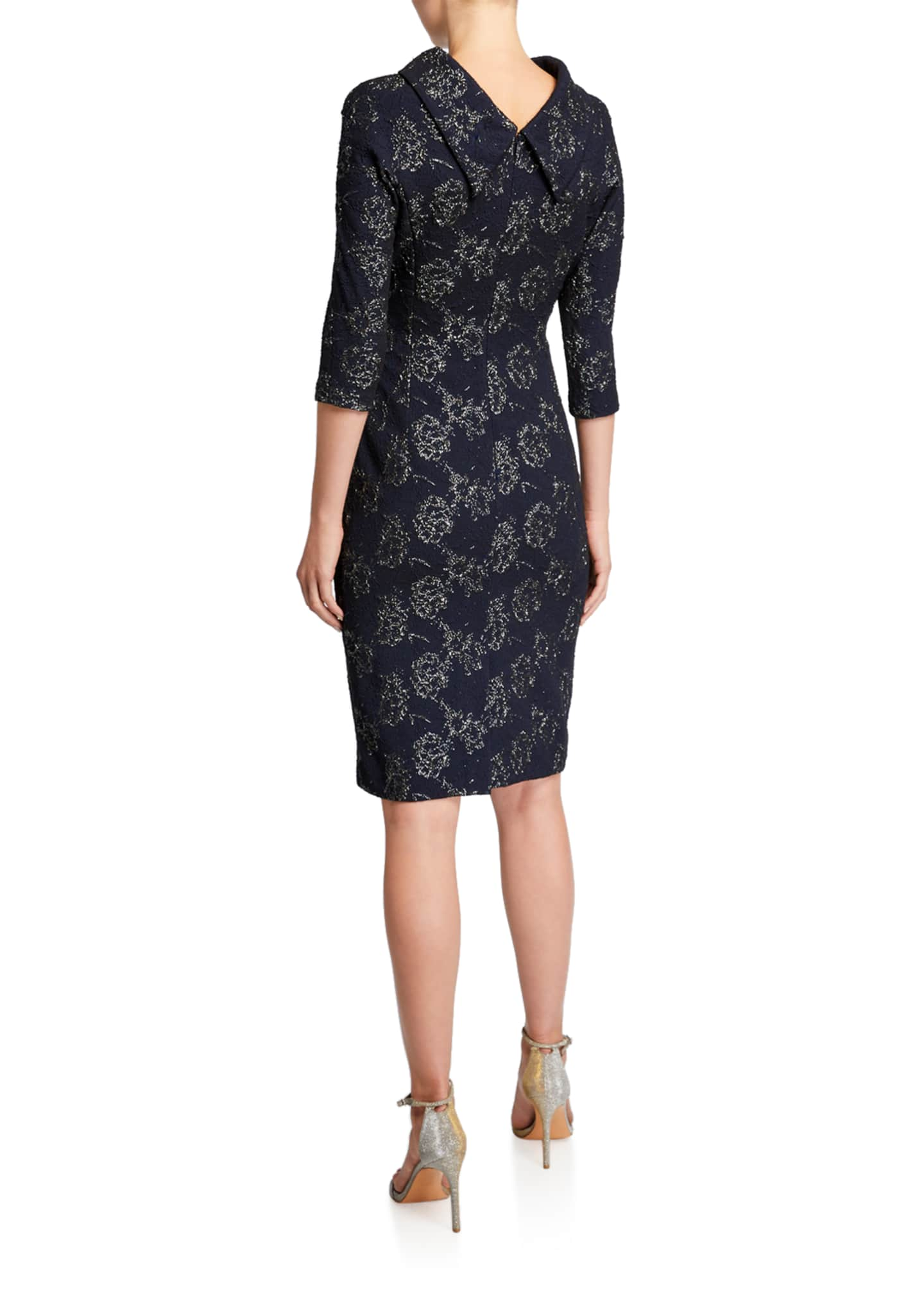 Image 2 of 2: Roll-Neck 3/4-Sleeve Stretch Jacquard Dress with Side Drape