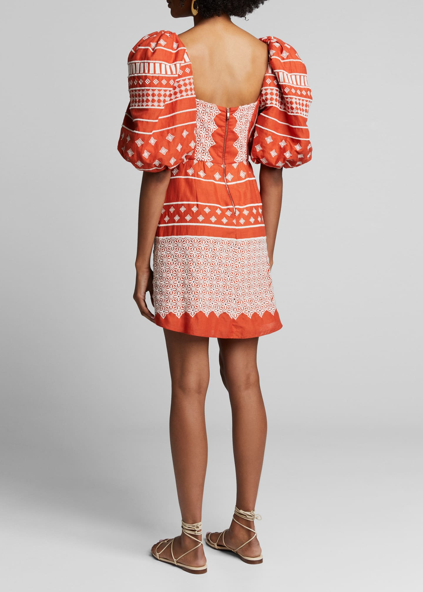 Image 2 of 4: Himalayas Embroidered Puff-Sleeve Dress