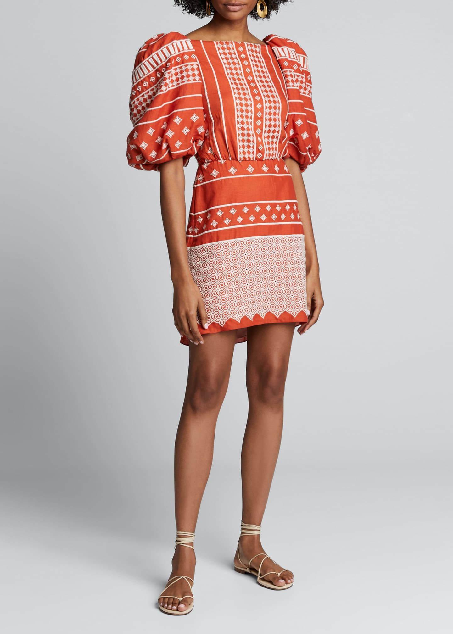 Image 3 of 4: Himalayas Embroidered Puff-Sleeve Dress