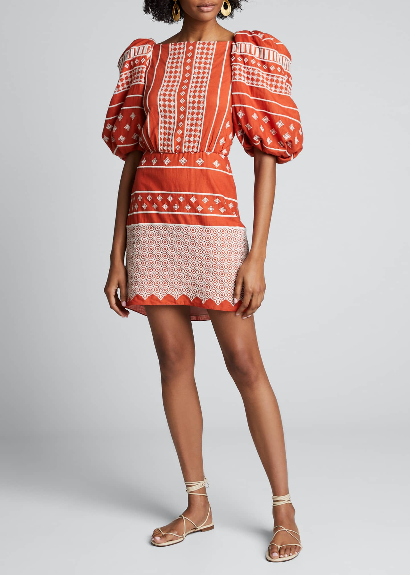 Image 1 of 4: Himalayas Embroidered Puff-Sleeve Dress