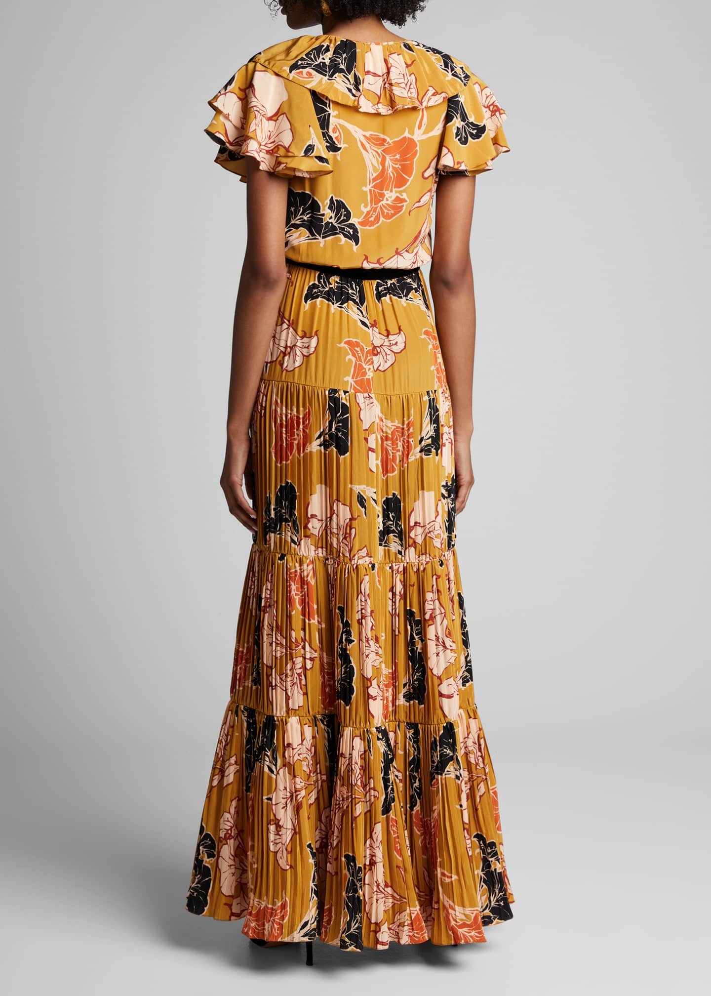 Image 2 of 4: Golden Blossom Floral Crepe de Chine Tiered Pleated Dress