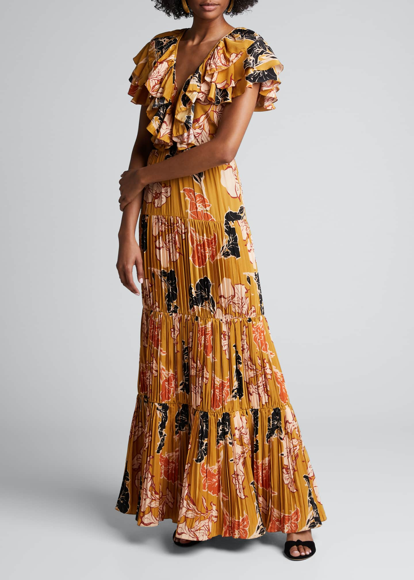 Image 3 of 4: Golden Blossom Floral Crepe de Chine Tiered Pleated Dress