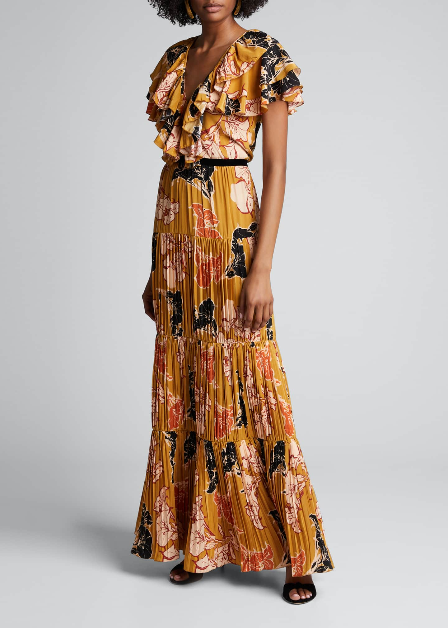 Image 1 of 4: Golden Blossom Floral Crepe de Chine Tiered Pleated Dress