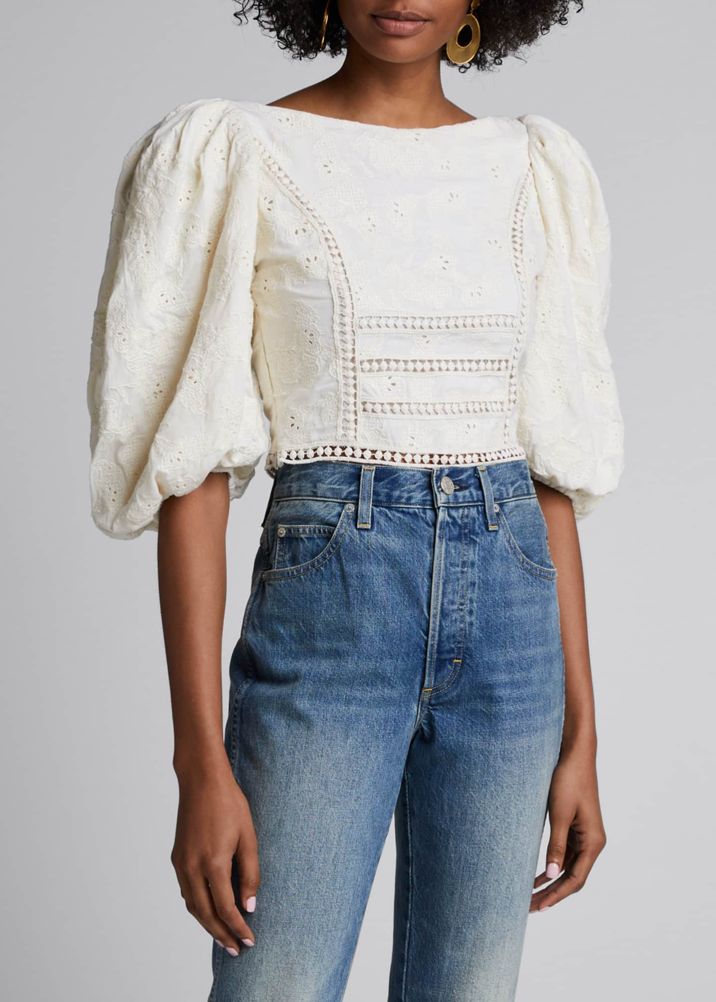 Image 3 of 4: Hazel Reflection Floral Jacquard Cotton Puff-Sleeve Crop Top