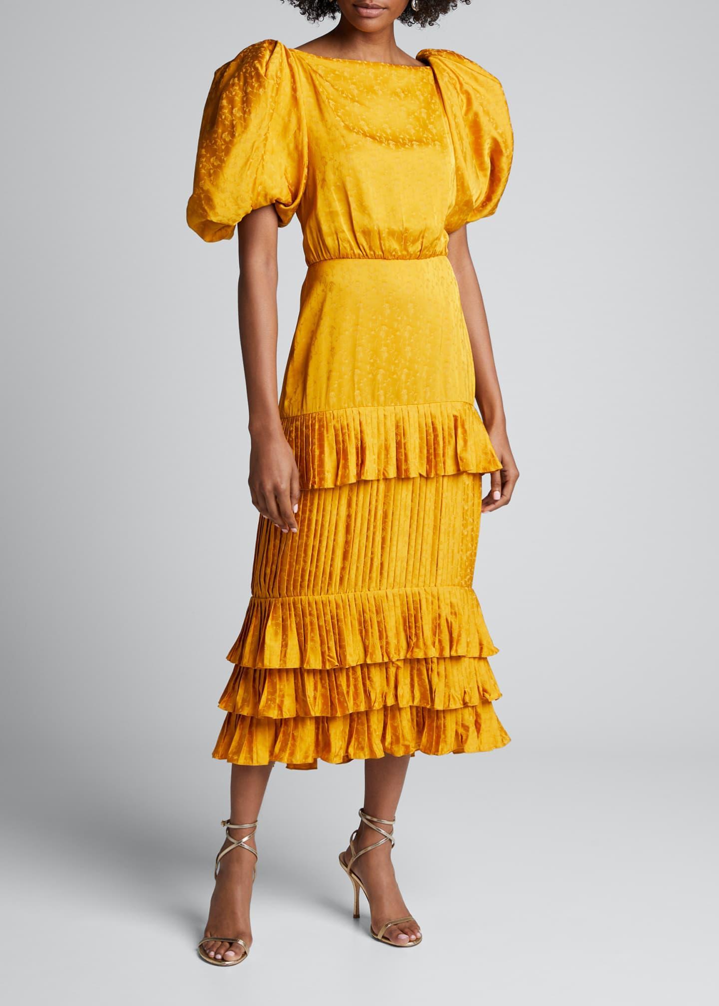 Johanna Ortiz Isolated Treasure Jacquard Puff Sleeve Dress