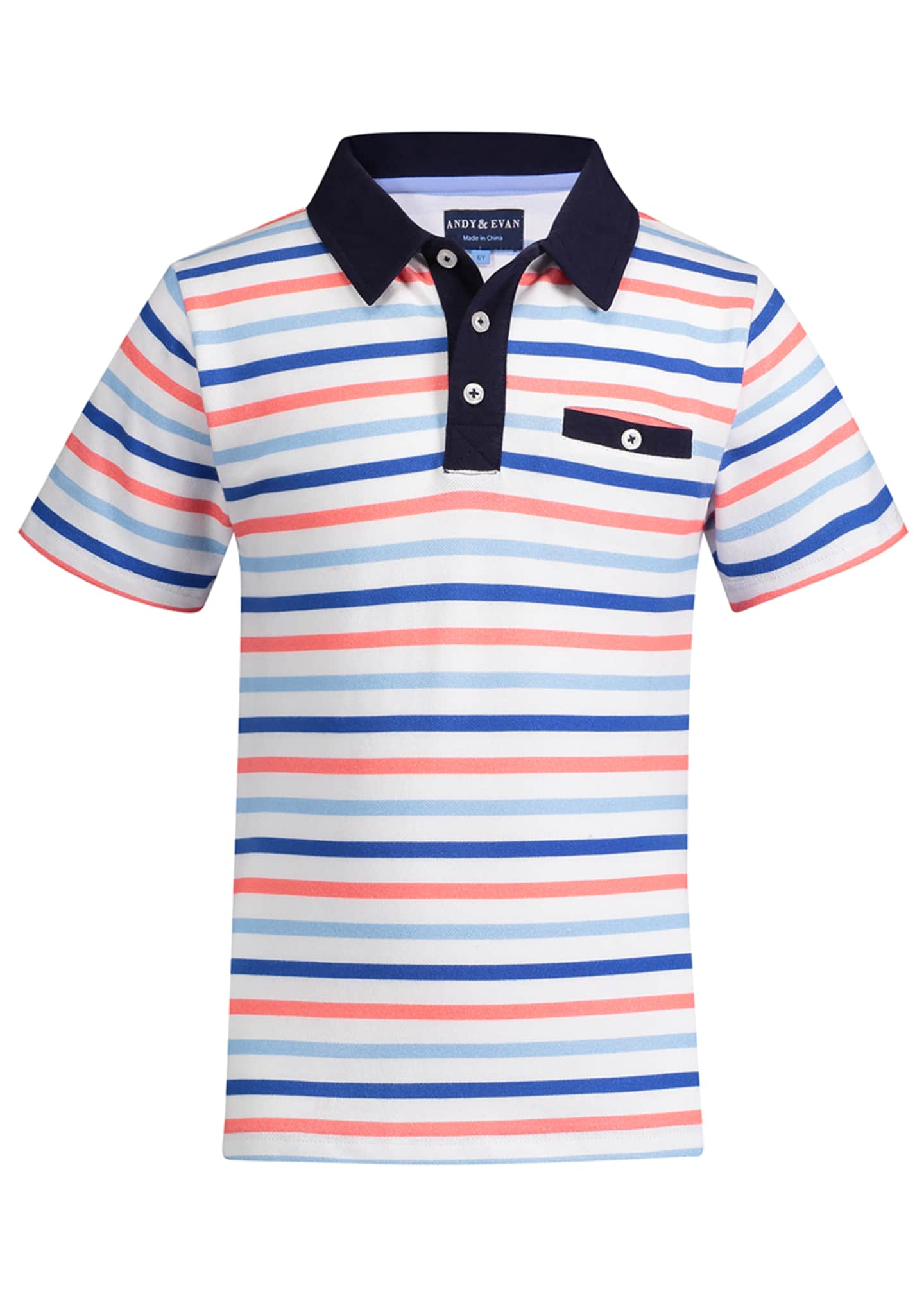 Andy & Evan Multicolored Stripe Polo Shirt, Size