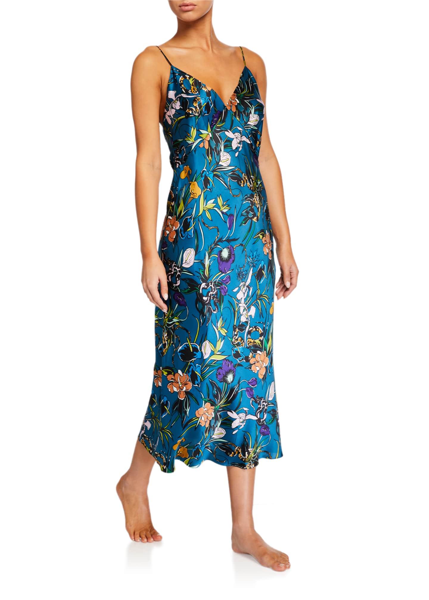 Olivia Von Halle Issa Heaven Floral Silk Nightgown