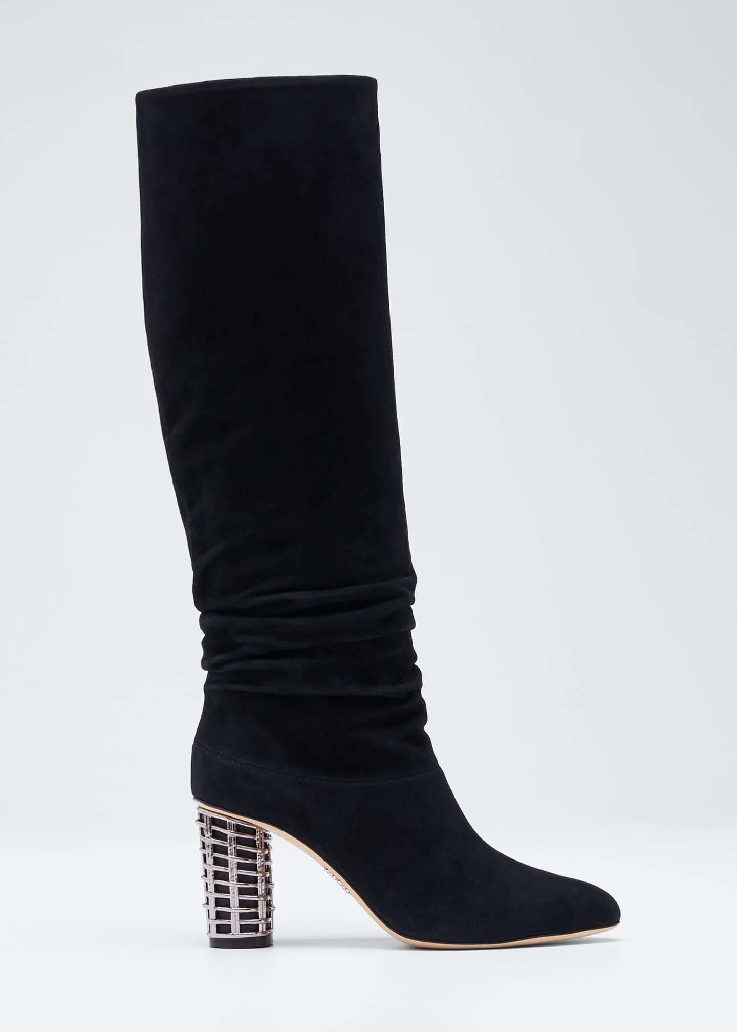 RODO Suede Knee Boots with Metal Weave Heel