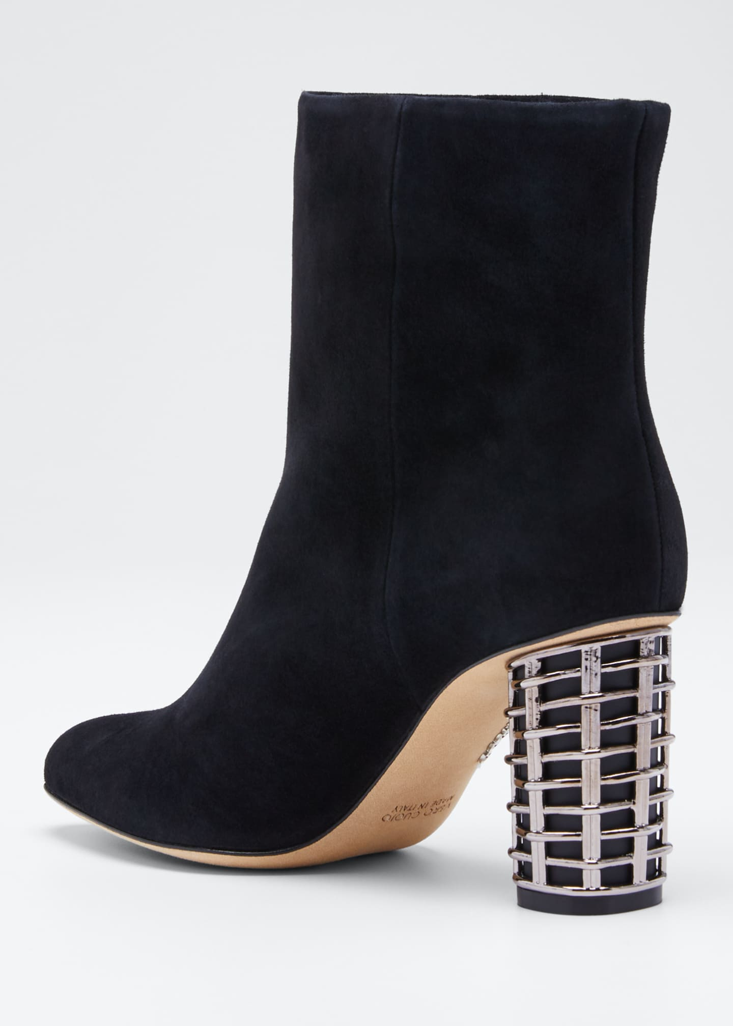 Image 4 of 5: Suede Booties with Metal Weave Heel