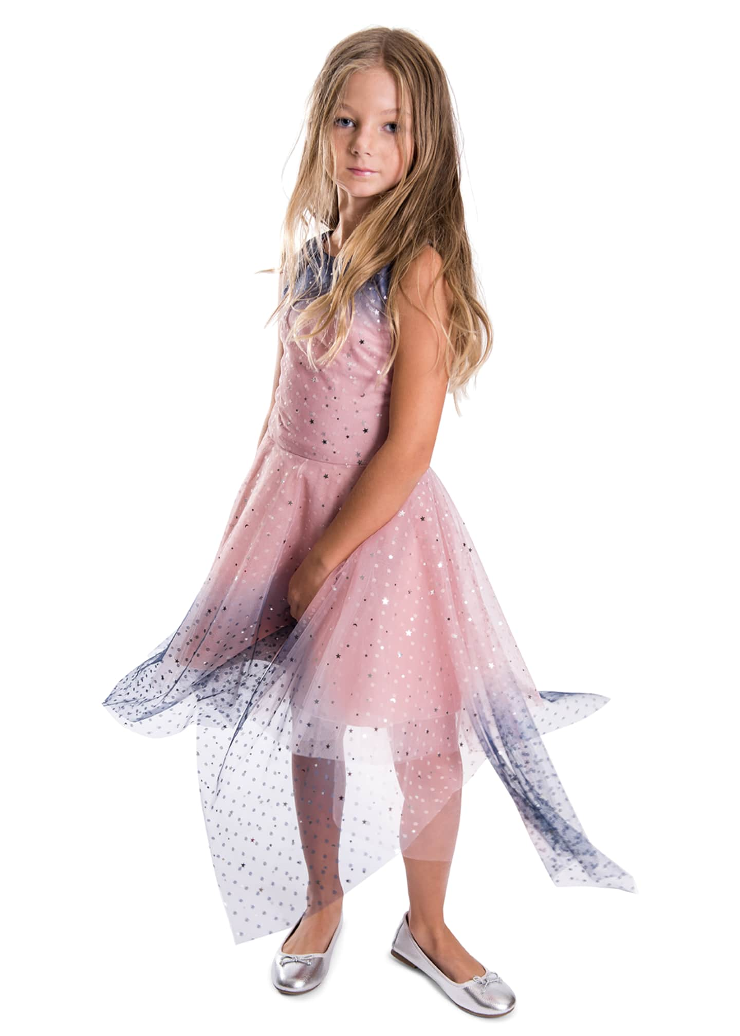Image 2 of 4: Girl's Odette Ombre Tulle Scattered Star Dress, Size 4-6X