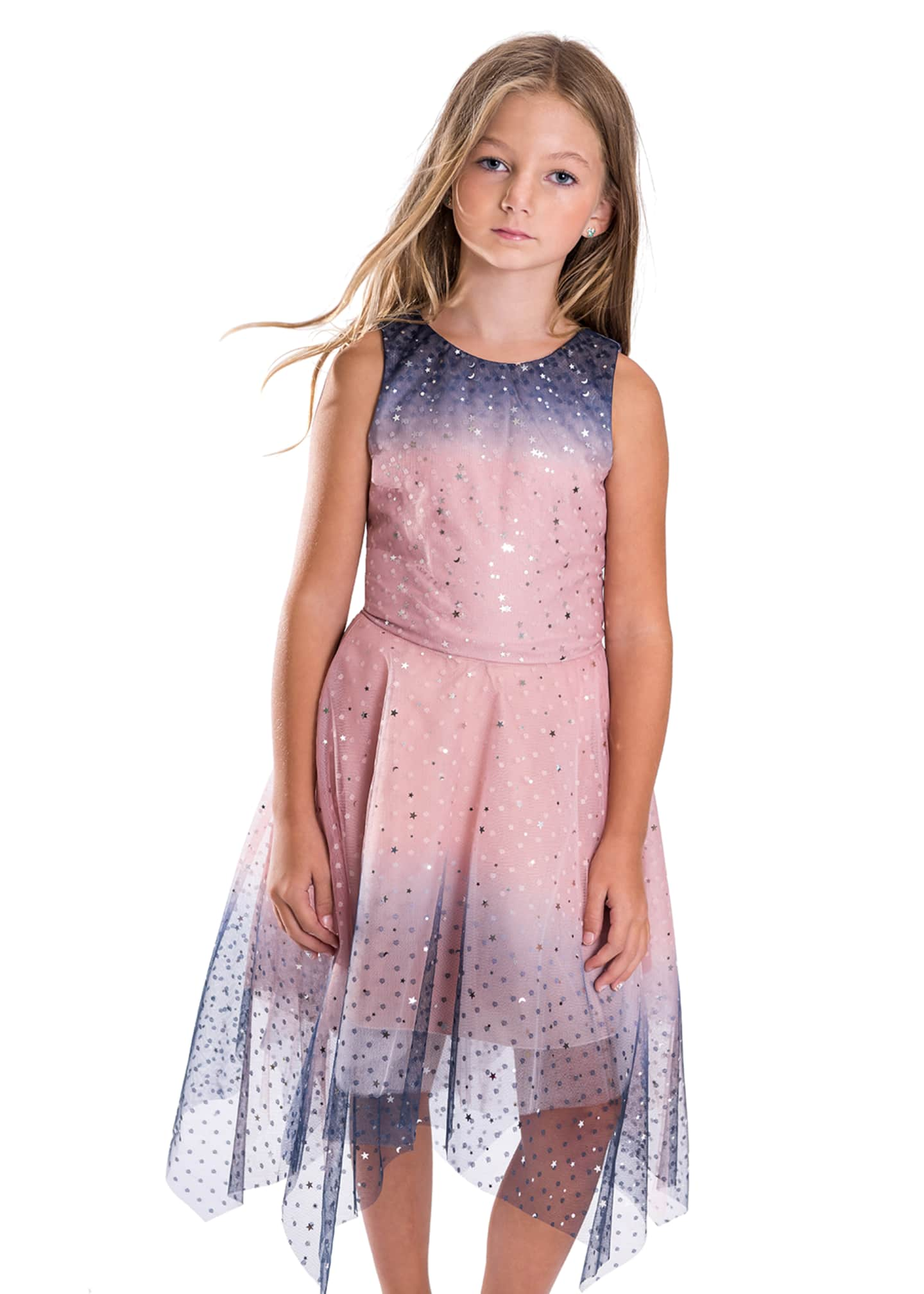 Image 3 of 4: Girl's Odette Ombre Tulle Scattered Star Dress, Size 4-6X
