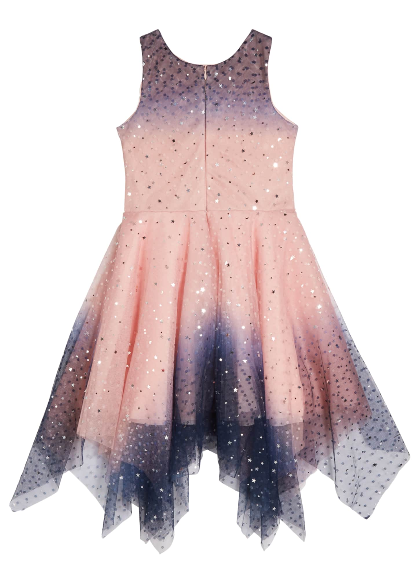 Image 4 of 4: Girl's Odette Ombre Tulle Scattered Star Dress, Size 4-6X