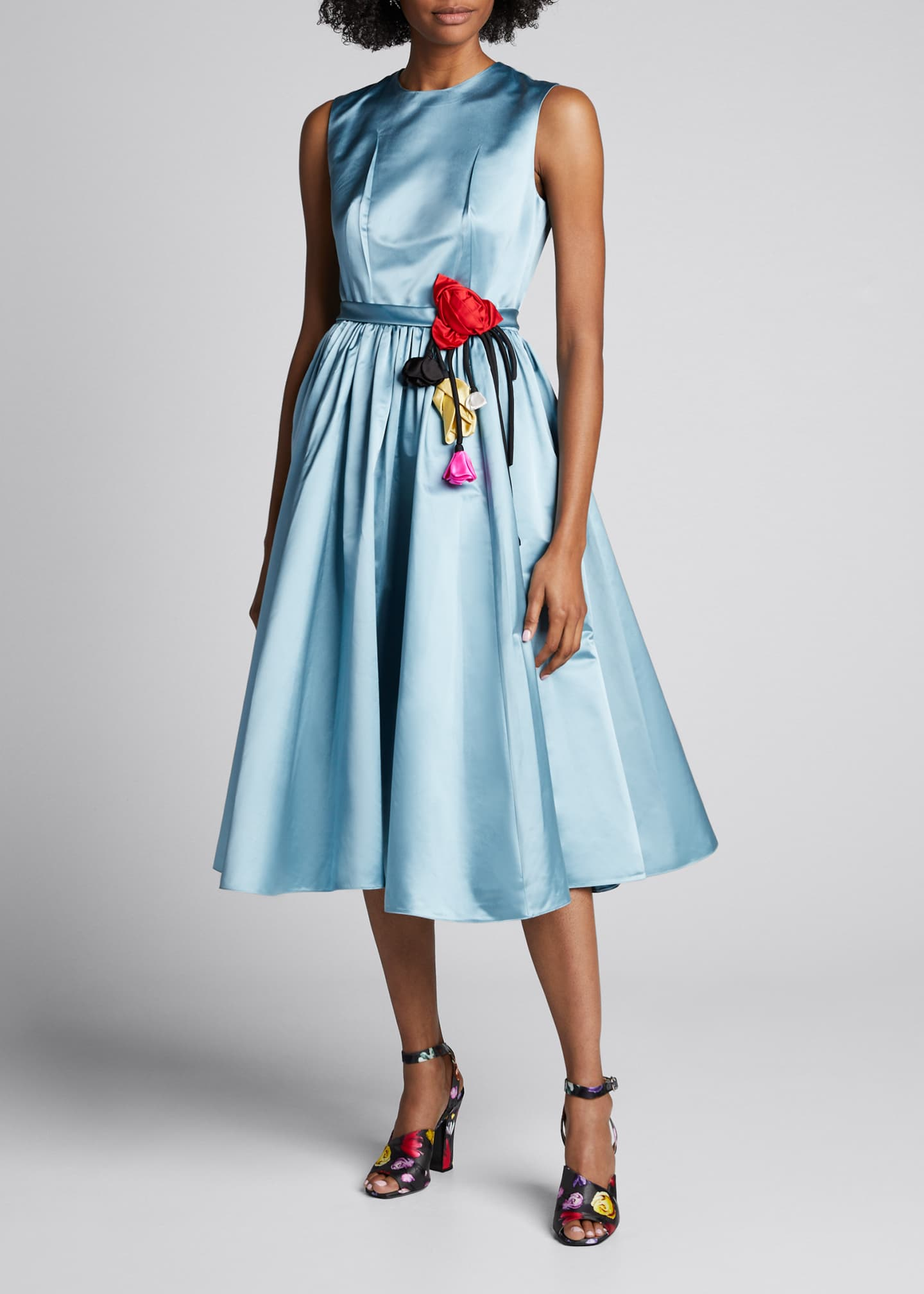 Image 1 of 5: Duchess Satin Full-Skirt Dress