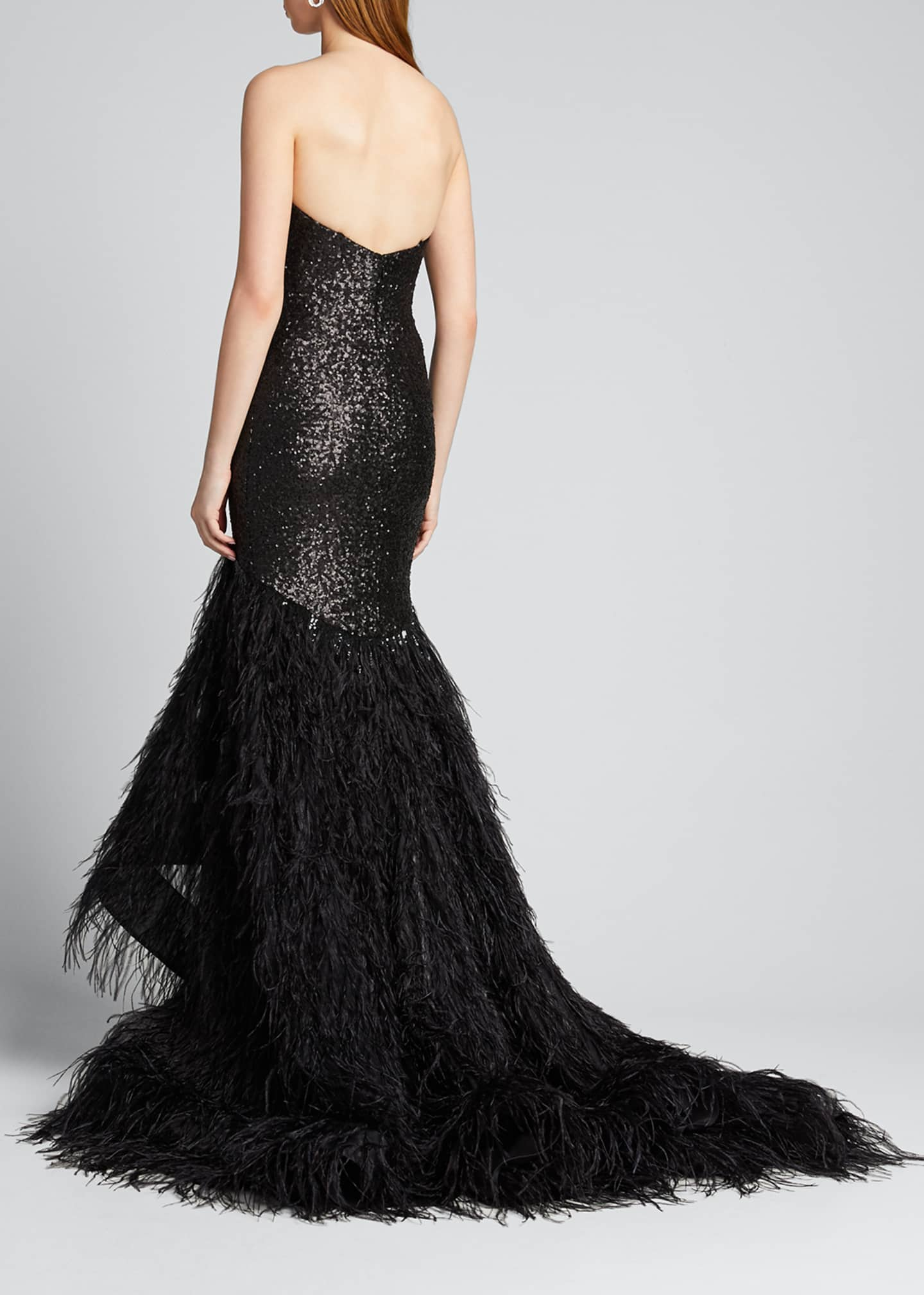 Image 2 of 5: Metallic Sequined Feather-Train Gown