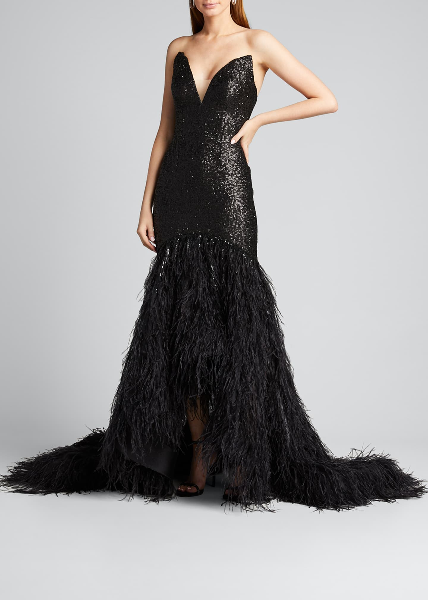 Image 3 of 5: Metallic Sequined Feather-Train Gown