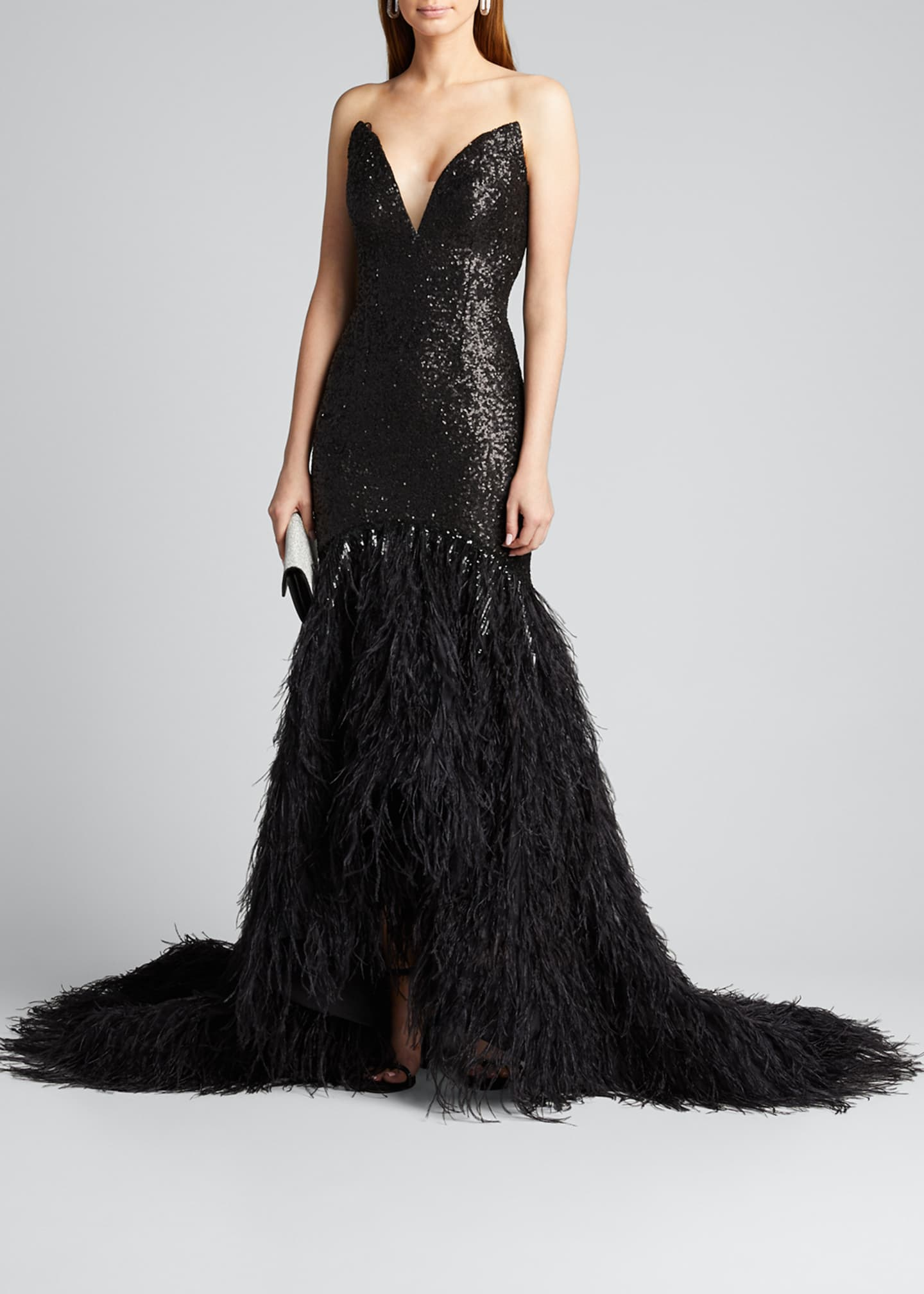 Image 1 of 5: Metallic Sequined Feather-Train Gown