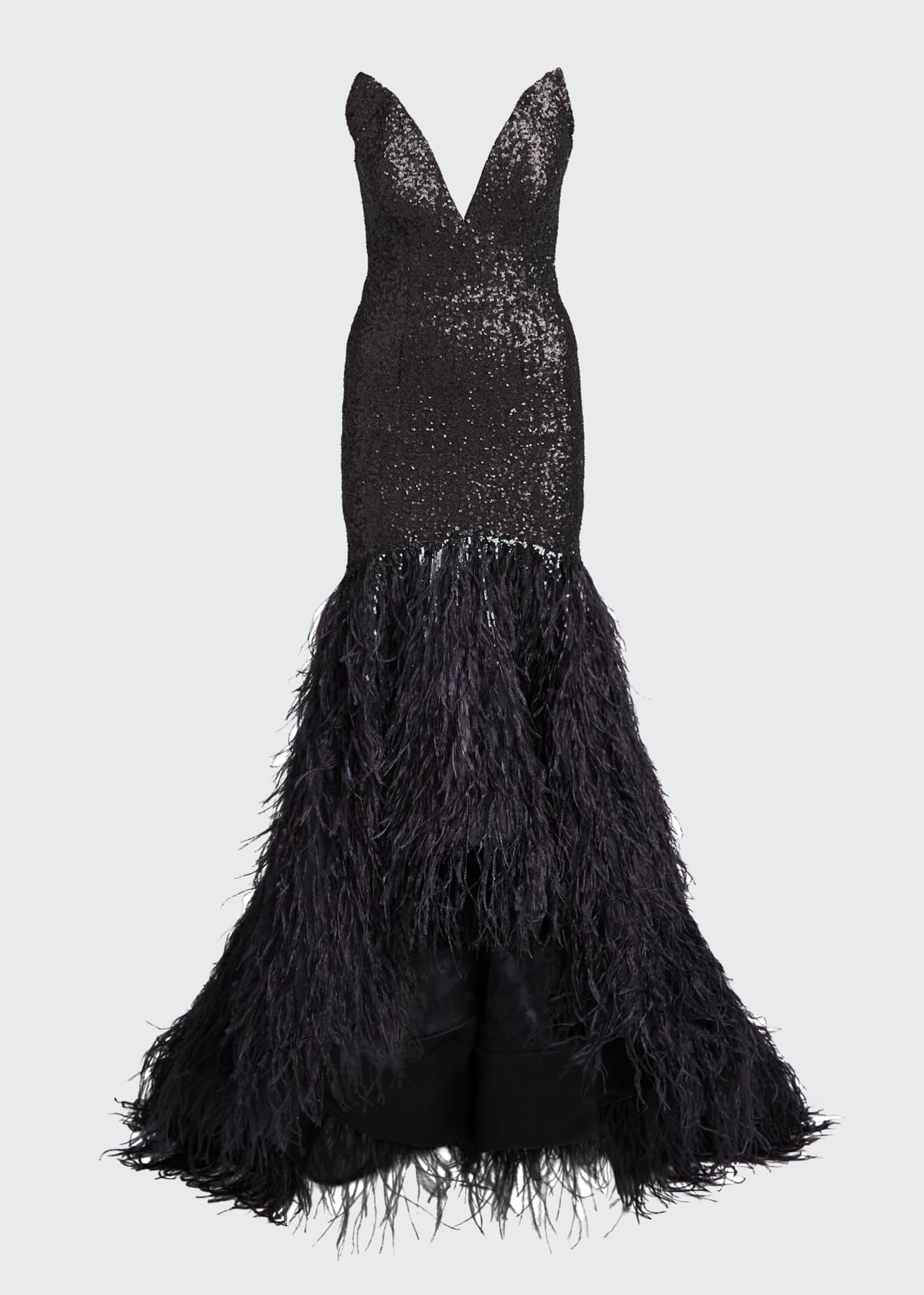 Image 5 of 5: Metallic Sequined Feather-Train Gown