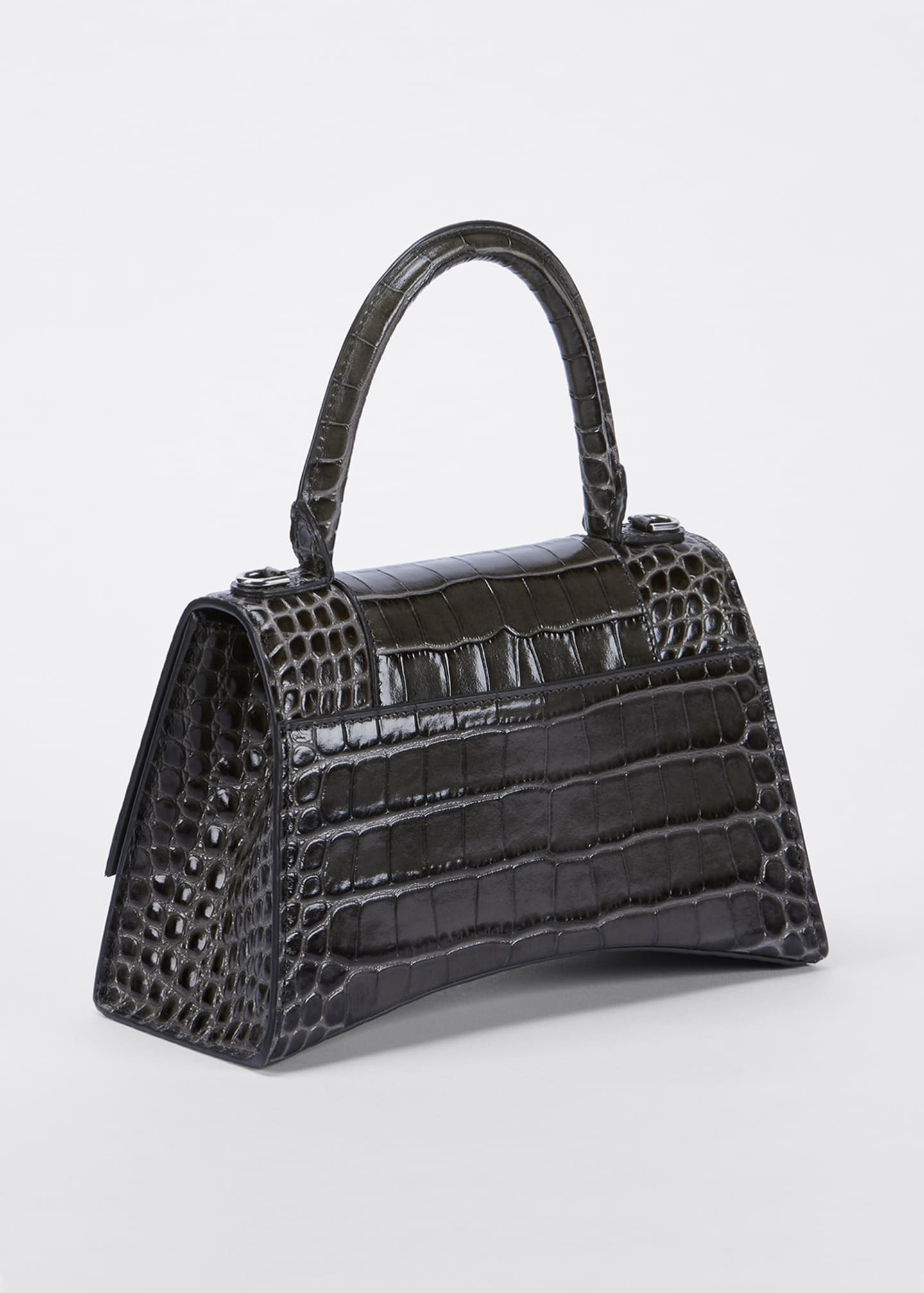 Image 3 of 5: Hour Small Shiny Croc-Embossed Top-Handle Bag