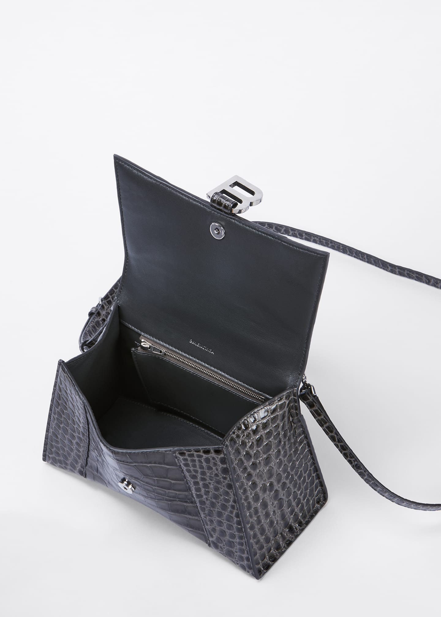 Image 4 of 5: Hour Small Shiny Croc-Embossed Top-Handle Bag