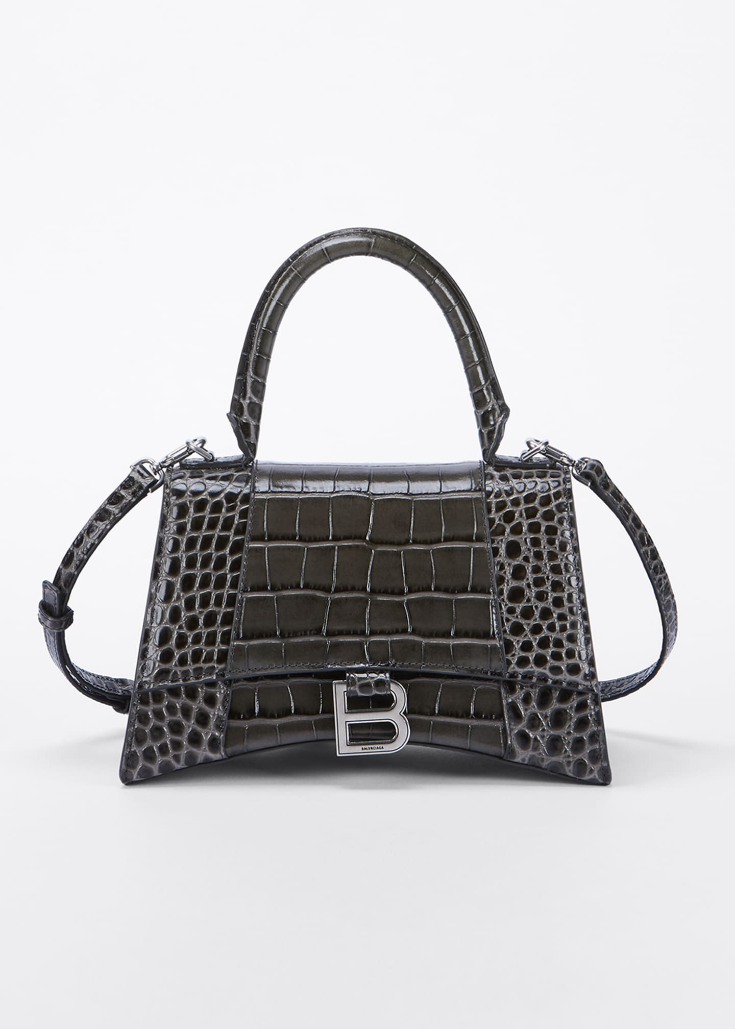 Image 1 of 5: Hour Small Shiny Croc-Embossed Top-Handle Bag