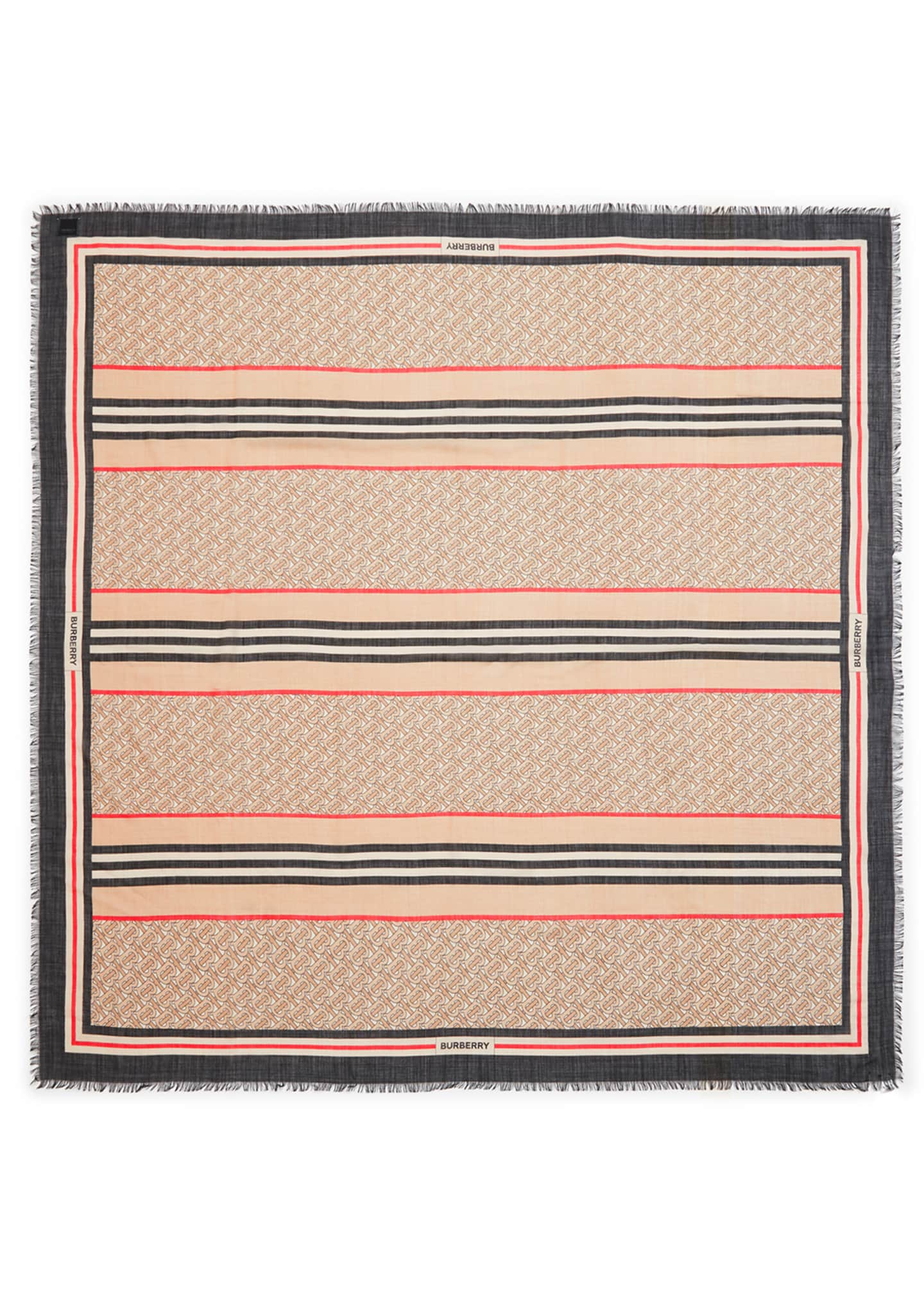 Image 2 of 4: Monogram Icon Stripe Gauze Square Scarf