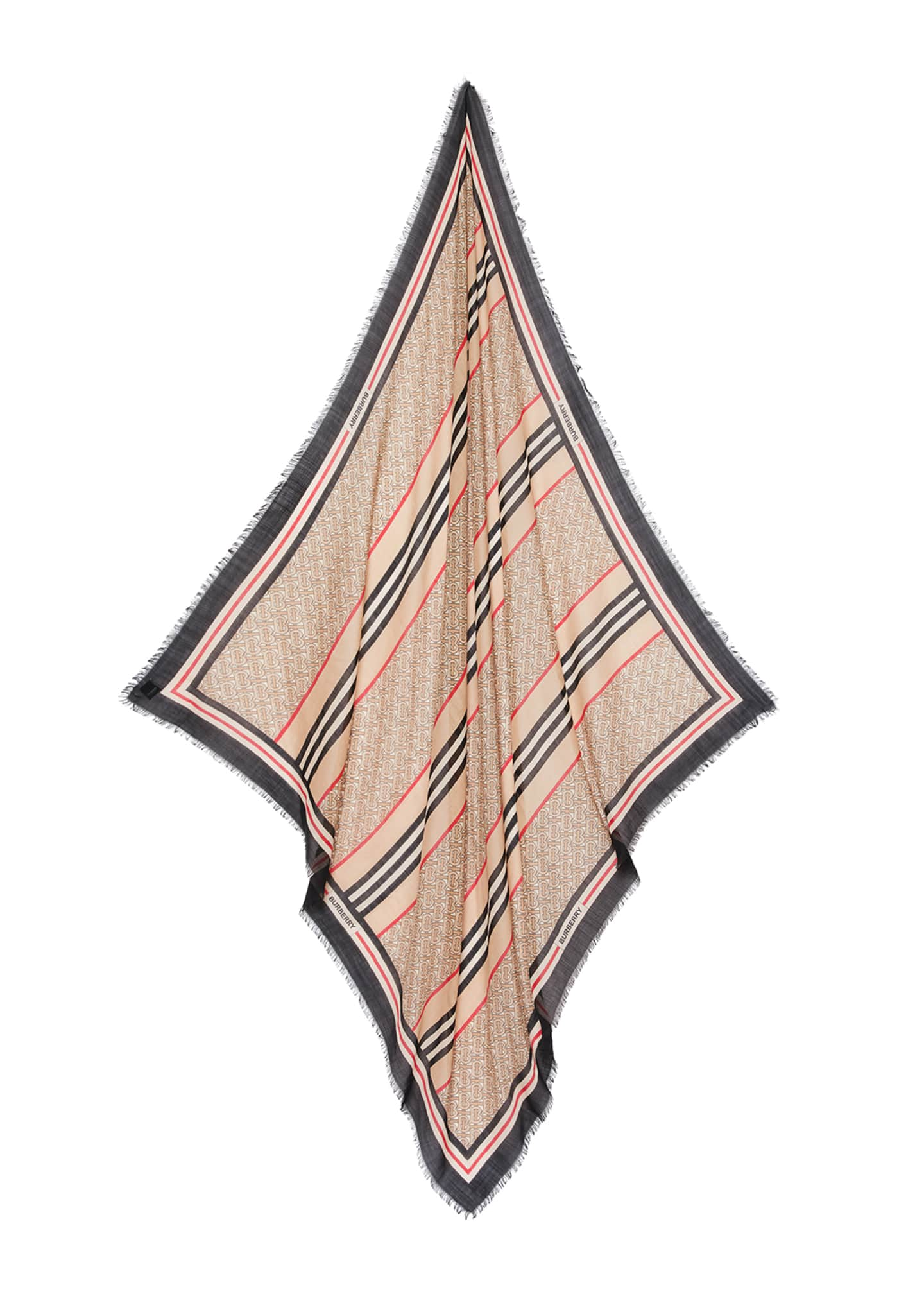 Image 3 of 4: Monogram Icon Stripe Gauze Square Scarf