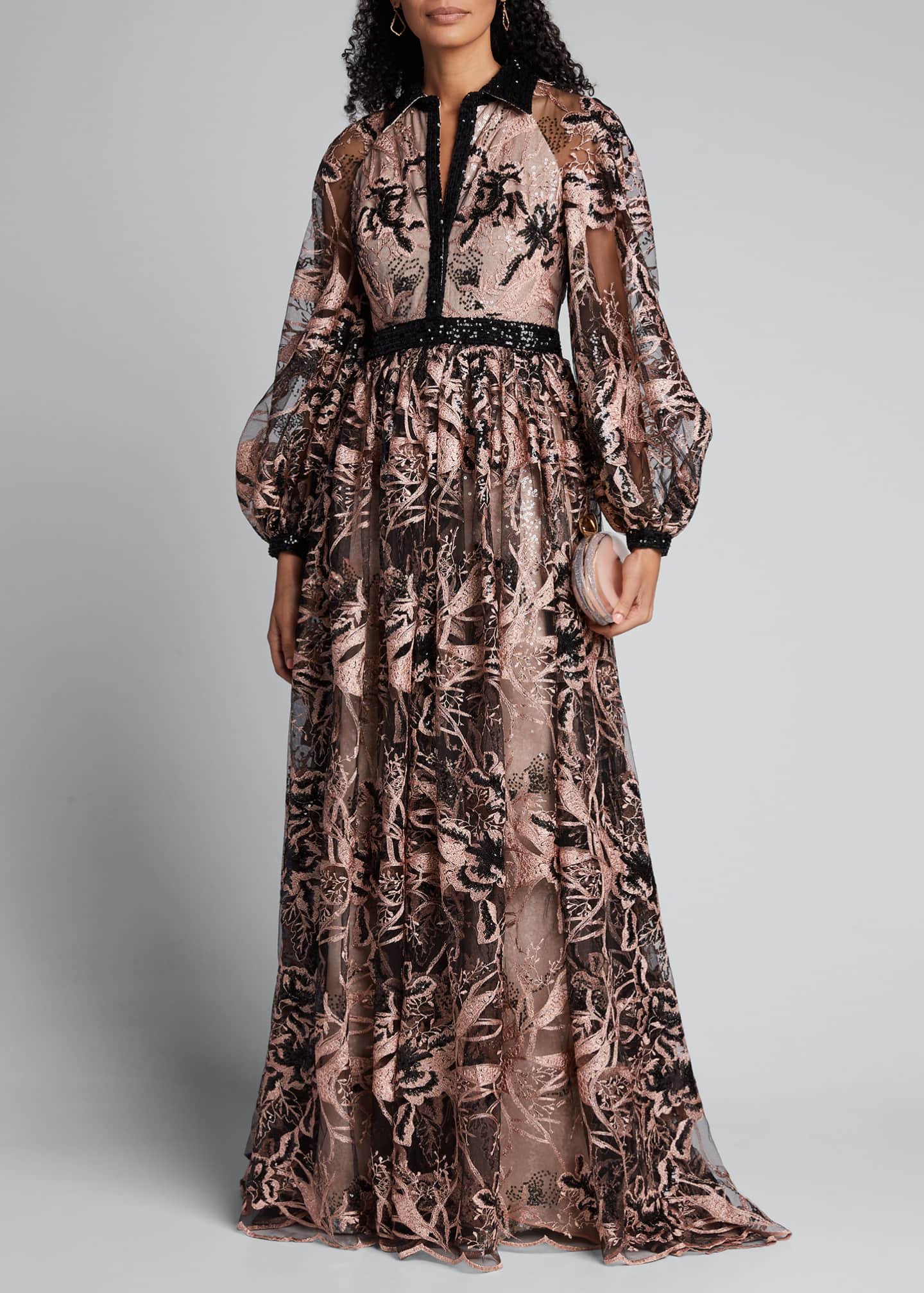 Badgley Mischka Couture Embroidered and Sequined Shirtdress