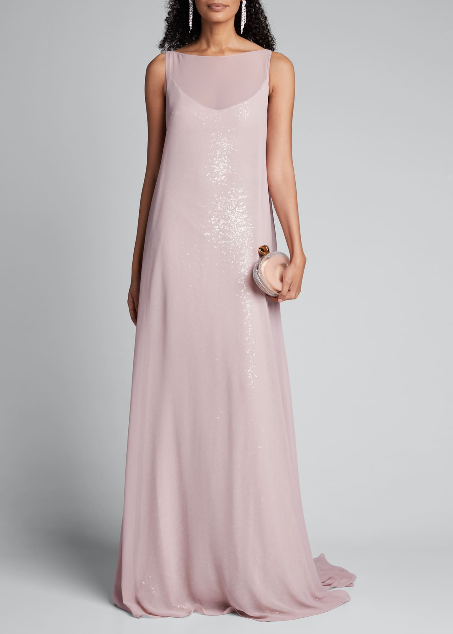 Badgley Mischka Couture Shimmered Cape Gown