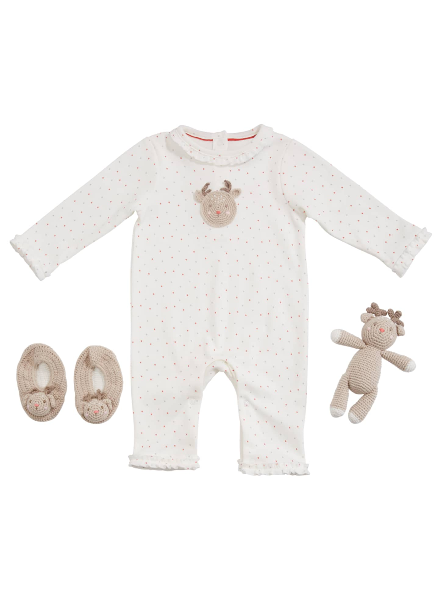 Image 1 of 2: Girl's Reindeer Romper w/ Booties & Rattle, Size 0-9 Months