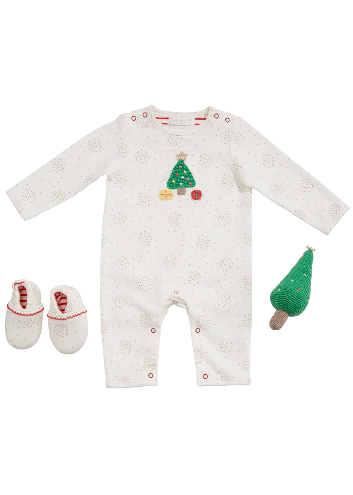 Image 1 of 2: Christmas Tree Romper w/ Booties & Rattle, Size 0-9 Months