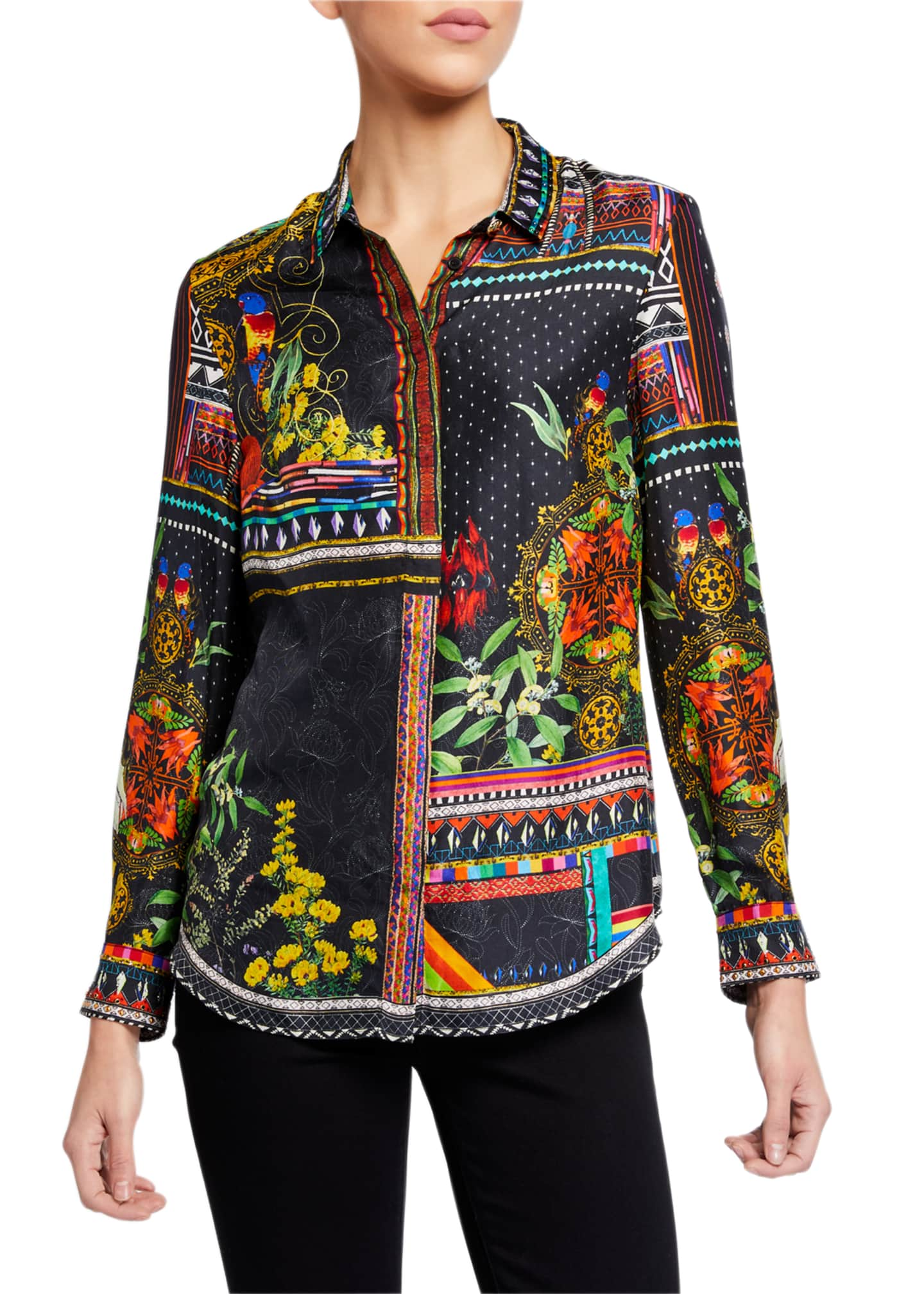 Camilla Slim-Fit Printed Long-Sleeve Shirt