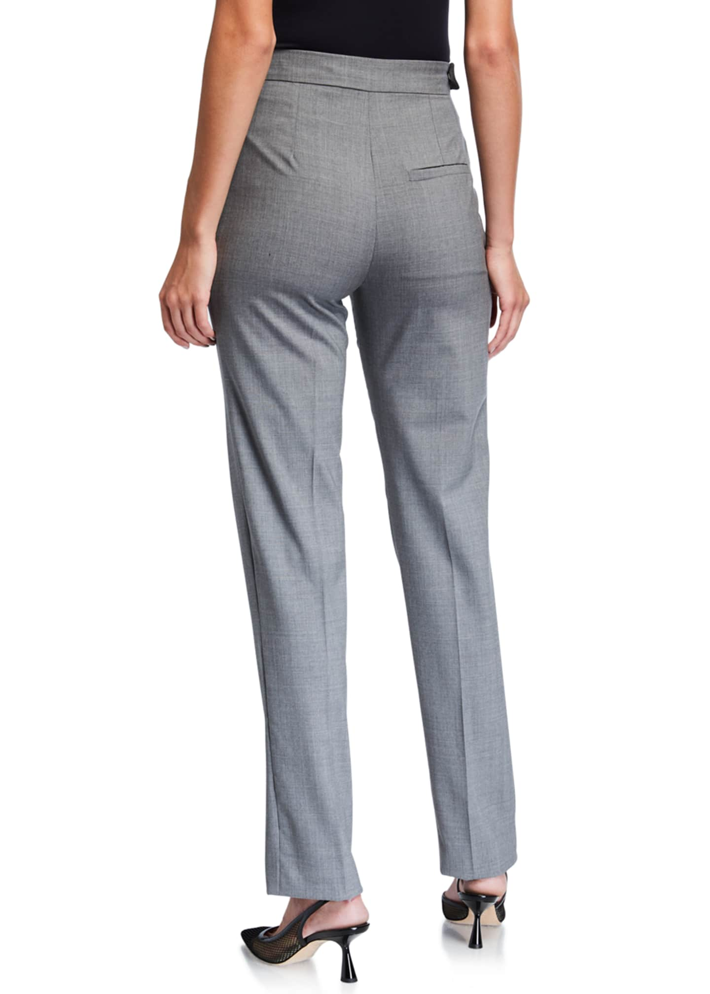Image 2 of 3: Stretch Wool Asymmetric Tailored Trousers