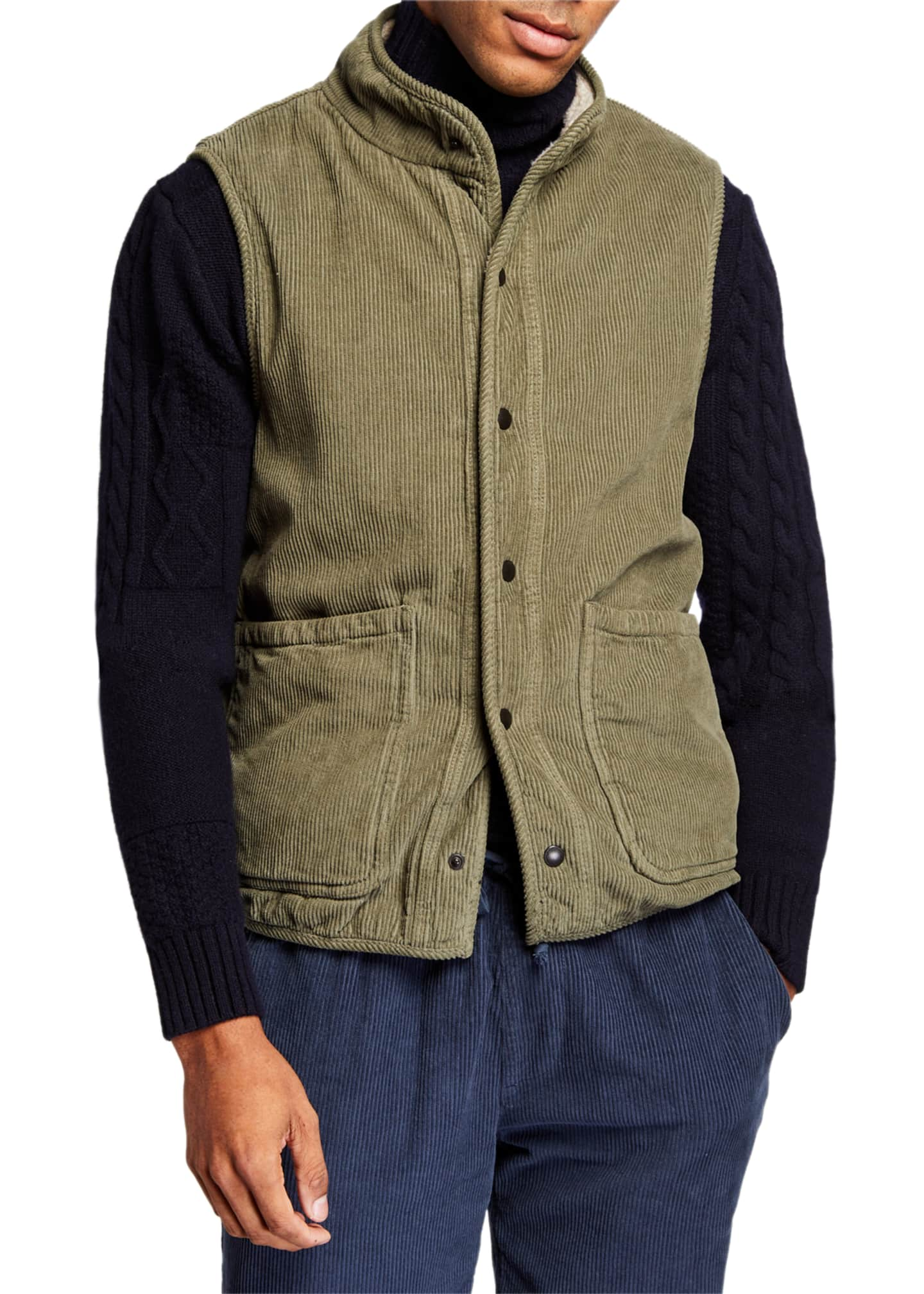 Image 2 of 4: Men's Sherpa-Lined Corduroy Vest