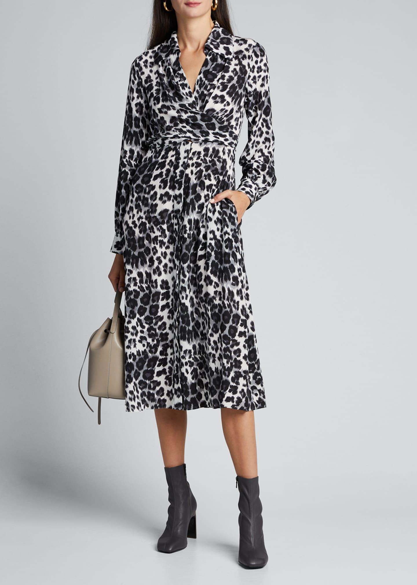 Diane von Furstenberg Donika Collared Leopard-Print Wrap Dress