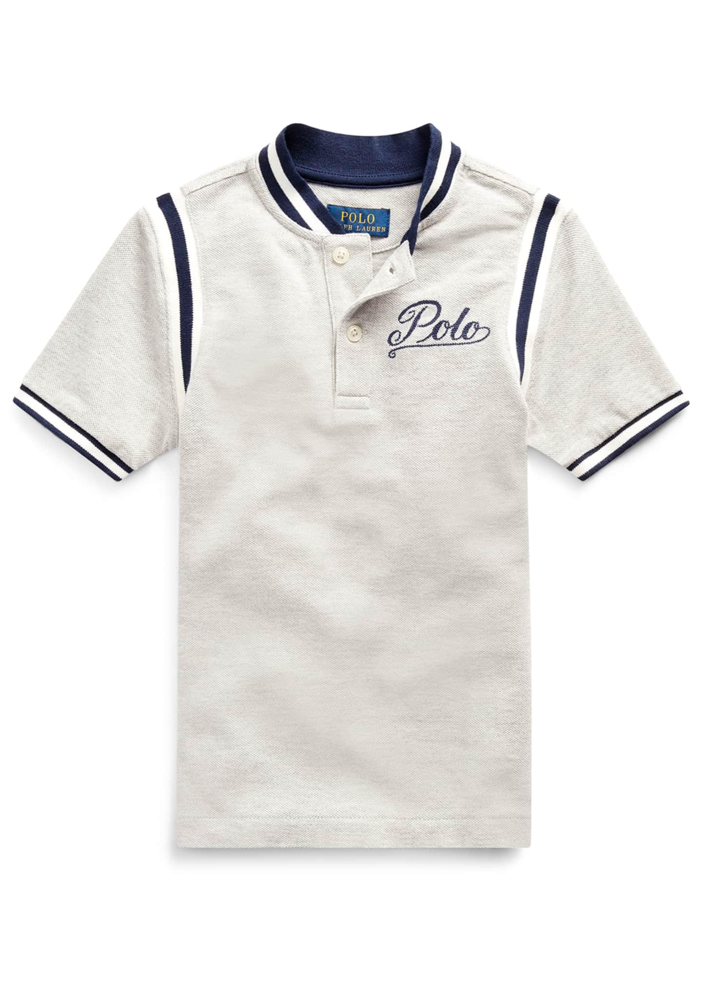 Ralph Lauren Childrenswear Mesh Knit Striped-Trim Shirt w/
