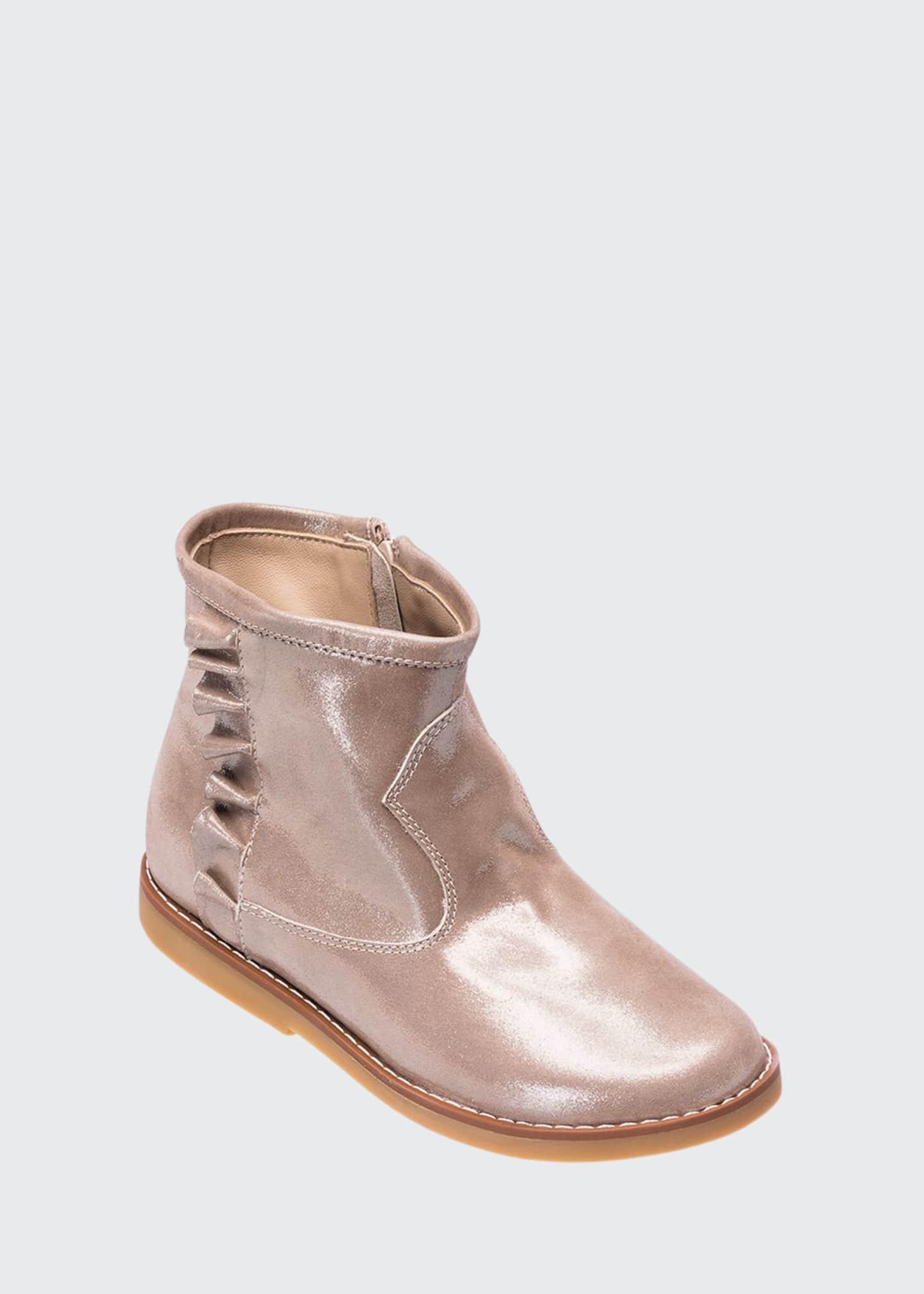 Elephantito Ruffle-Trim Metallic Leather Booties, Kids