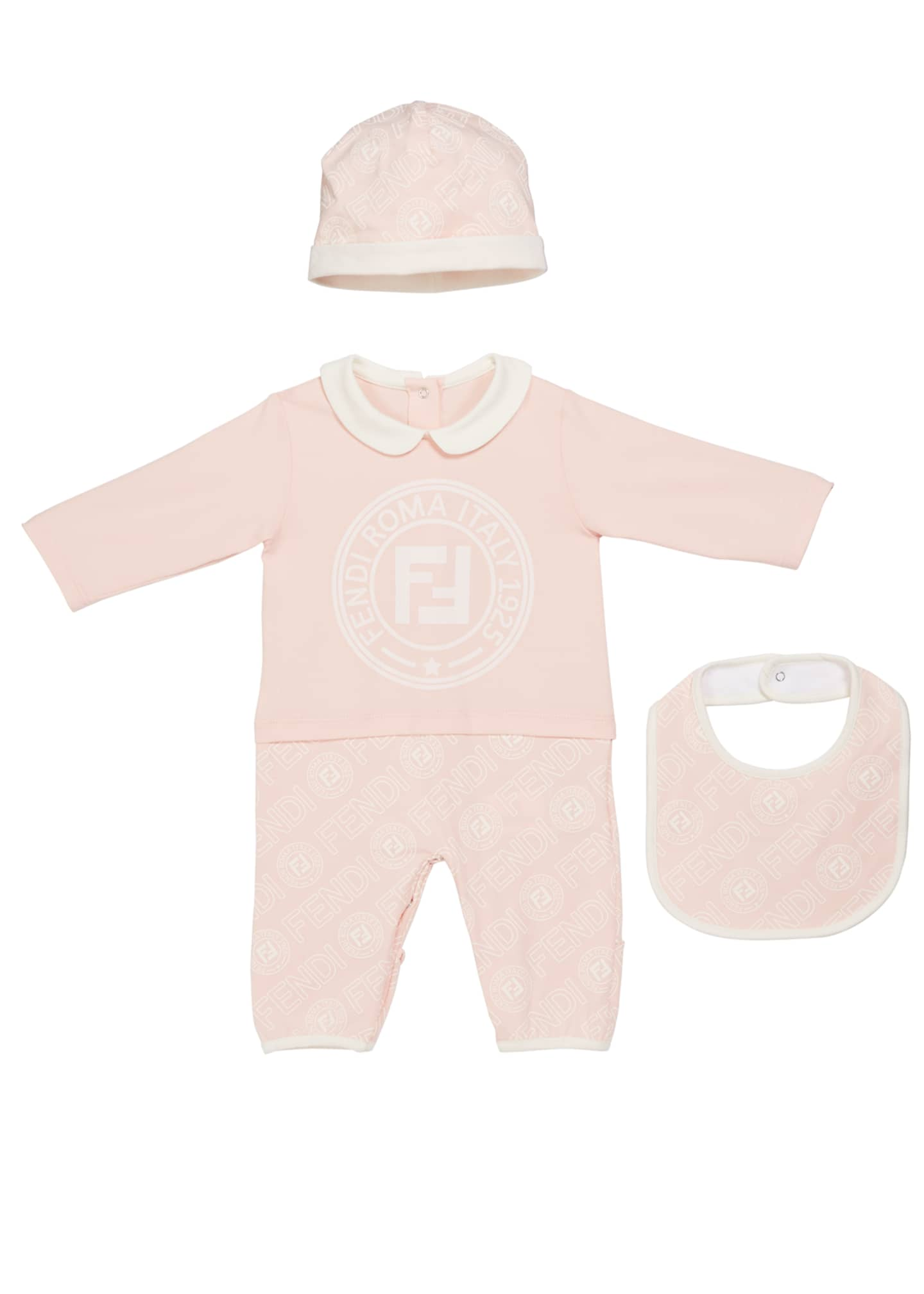 Fendi Logo Coverall w/ Matching Hat & Bib,